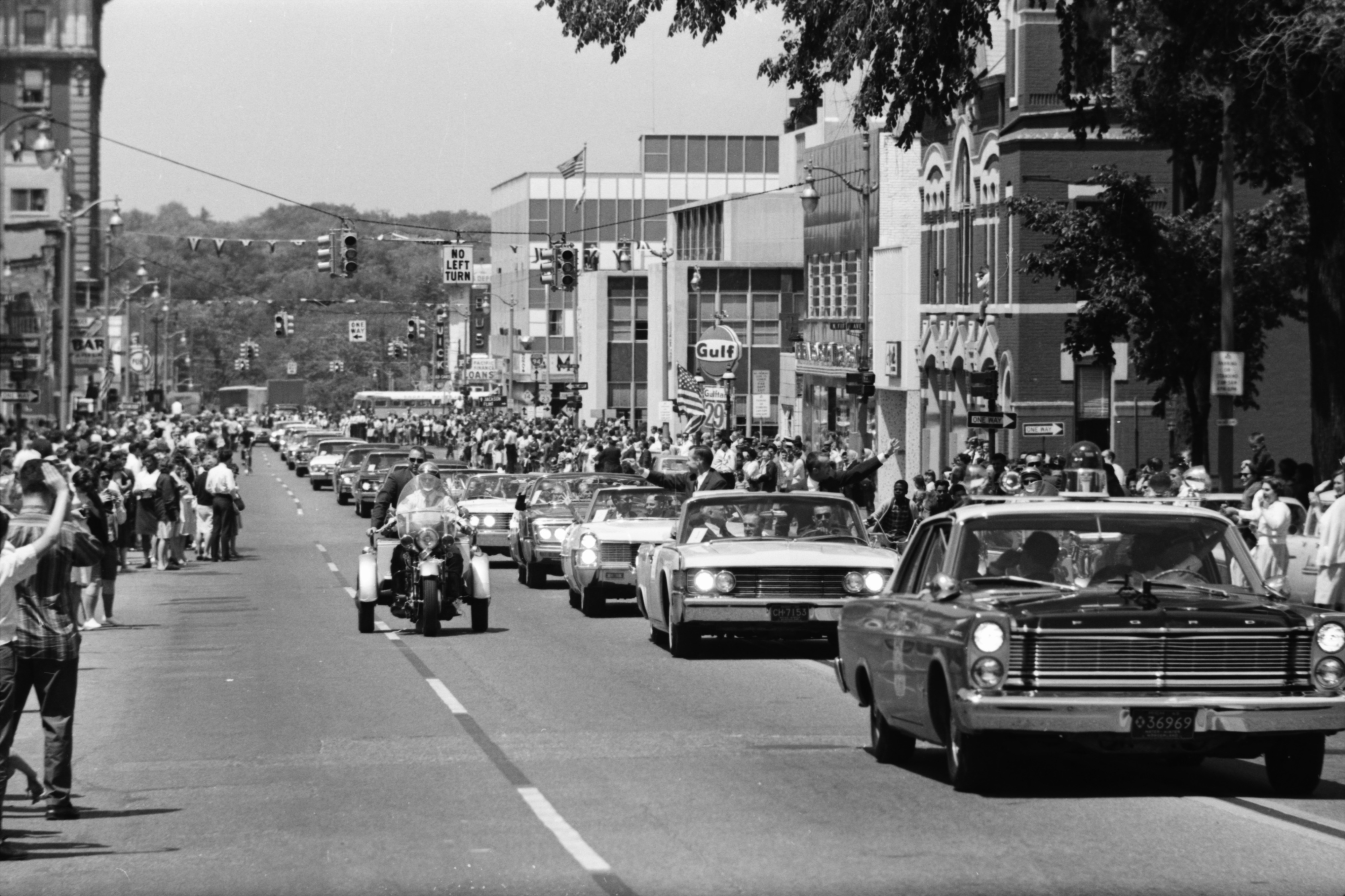 Astronauts James A. McDivitt and Edward H. White II in Motorcade through Ann Arbor, June 15, 1965 image