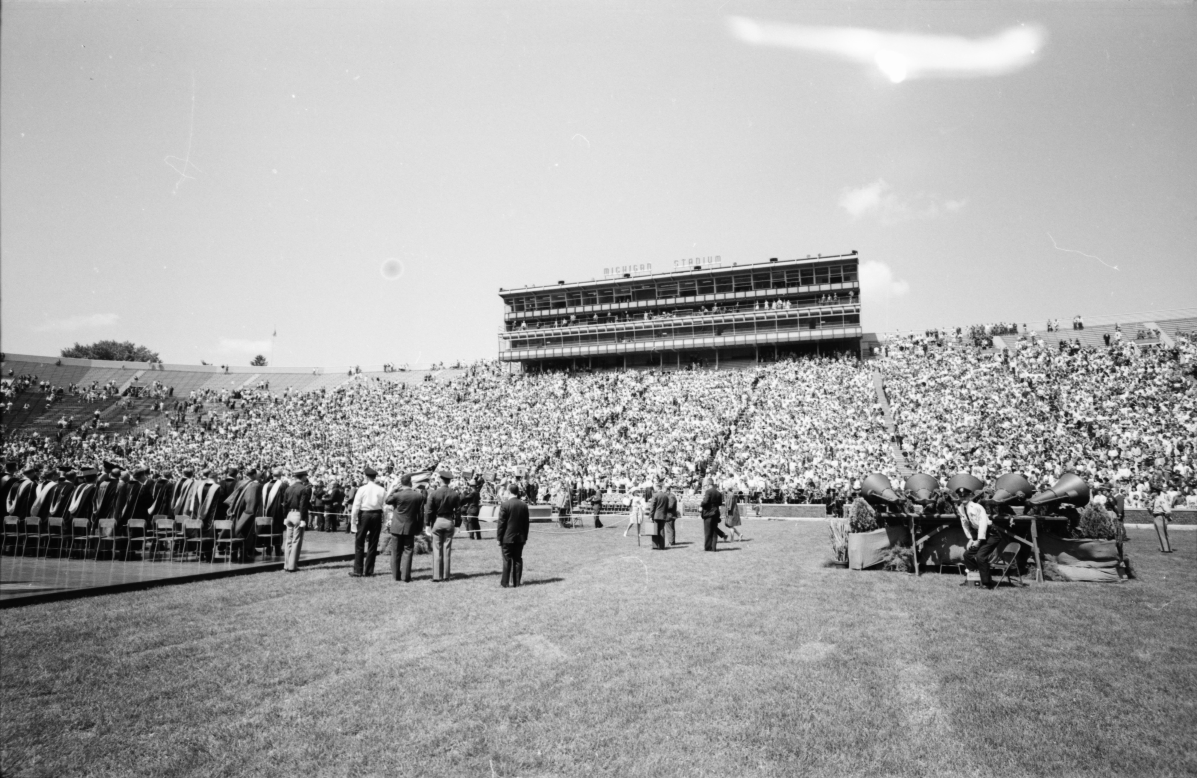 Convocation at Michigan Stadium Honoring Astronauts James A. McDivitt and Edward H. White II, June 1965 image