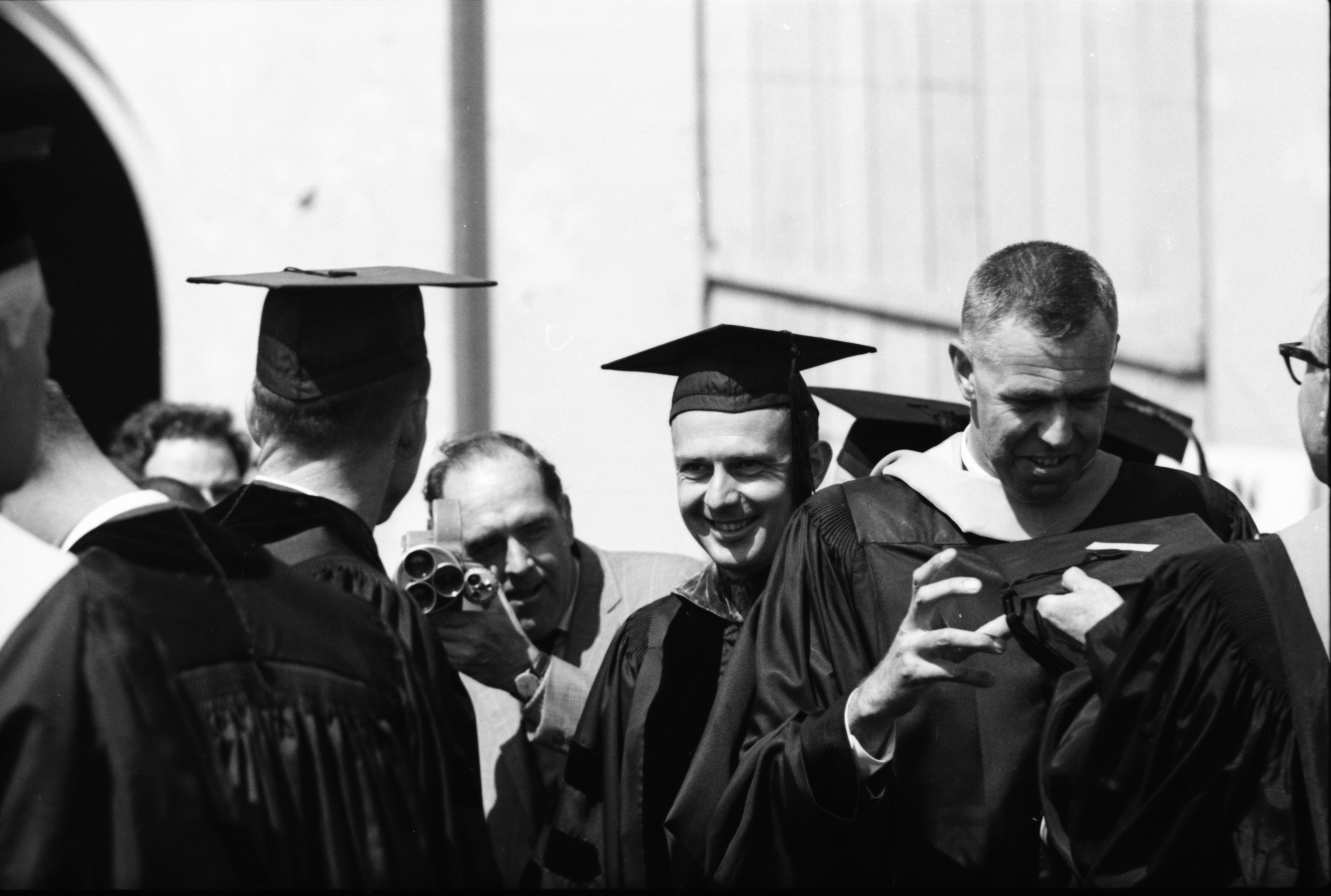 Astronauts James A. McDivitt and Edward H. White at Convocation, June 15, 1965 image