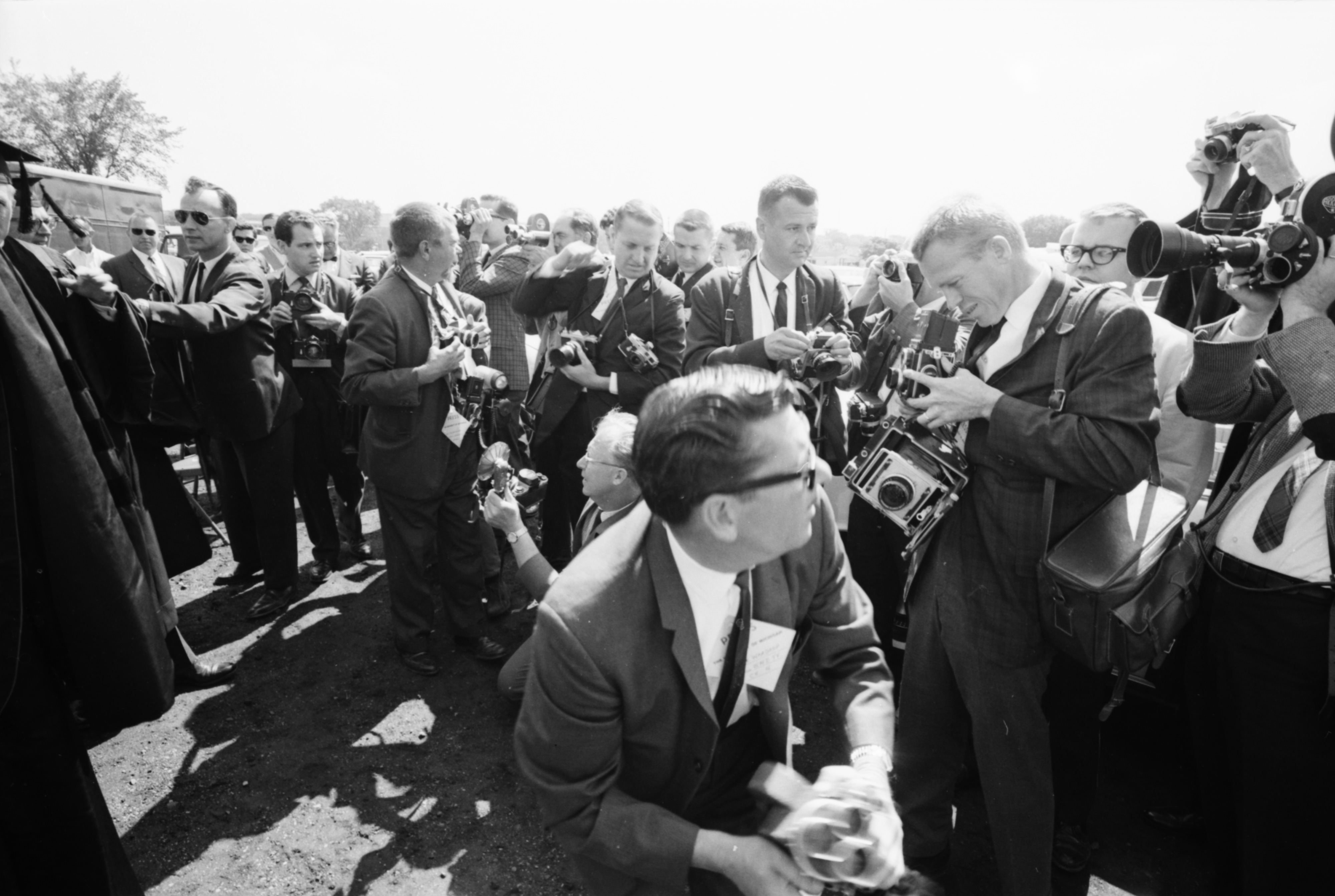 Photographers at the Convocation honoring Astronauts James A. McDivitt and Edward H. White II, June 1965 image