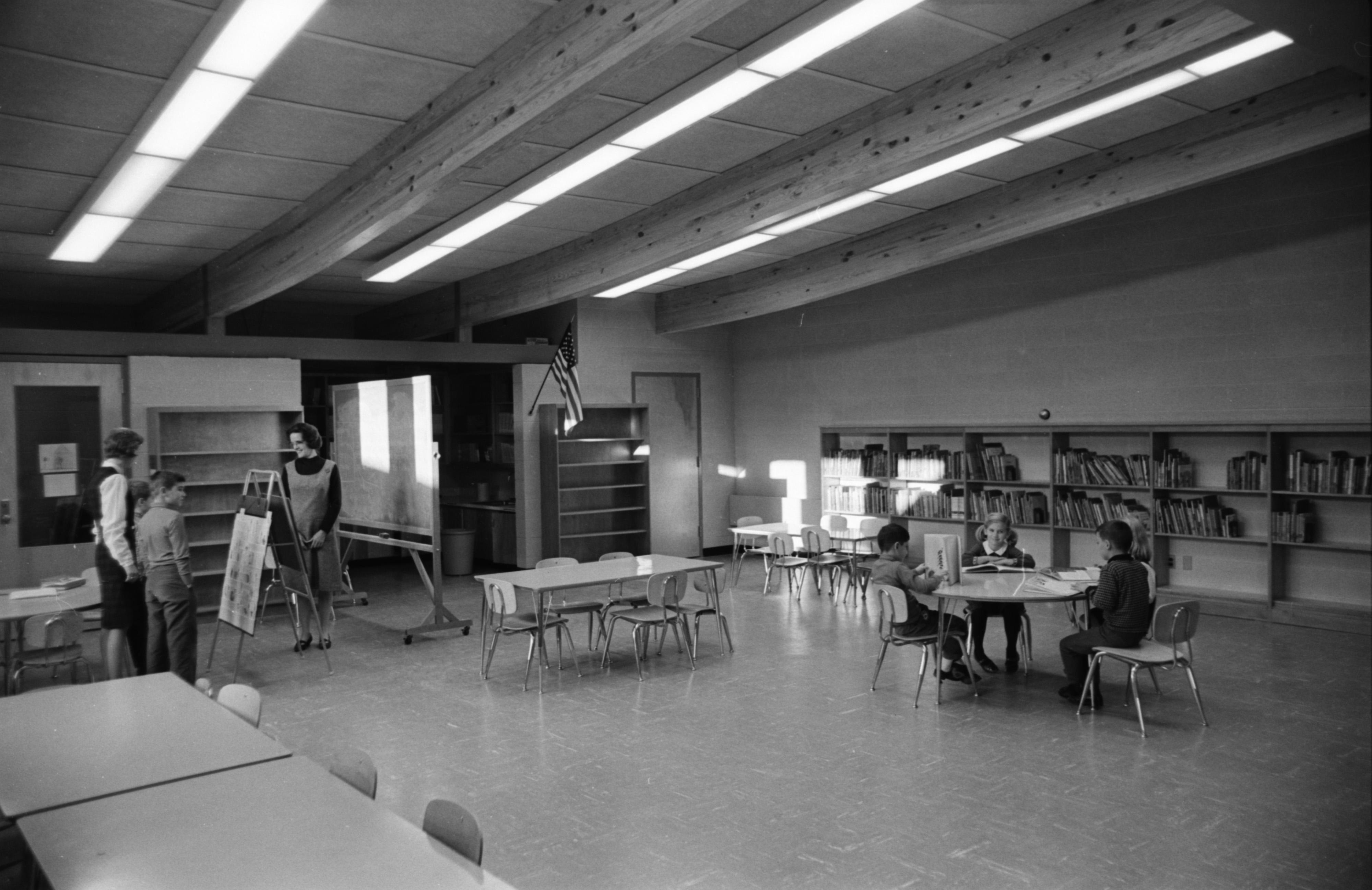 Bader Elementary School Library, December 1965 image