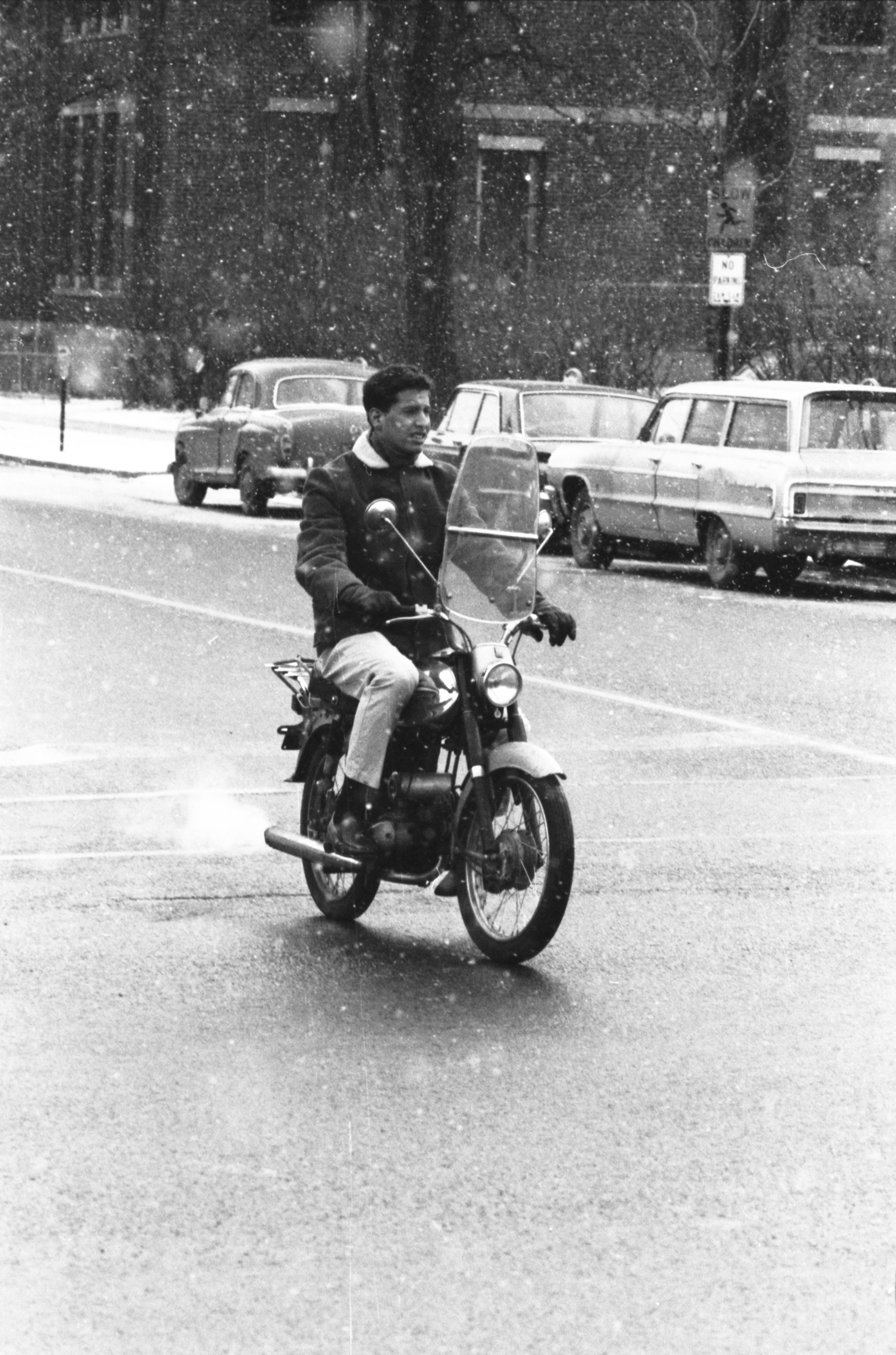 Motorcyclist On A Snowy Afternoon, January 1966 image