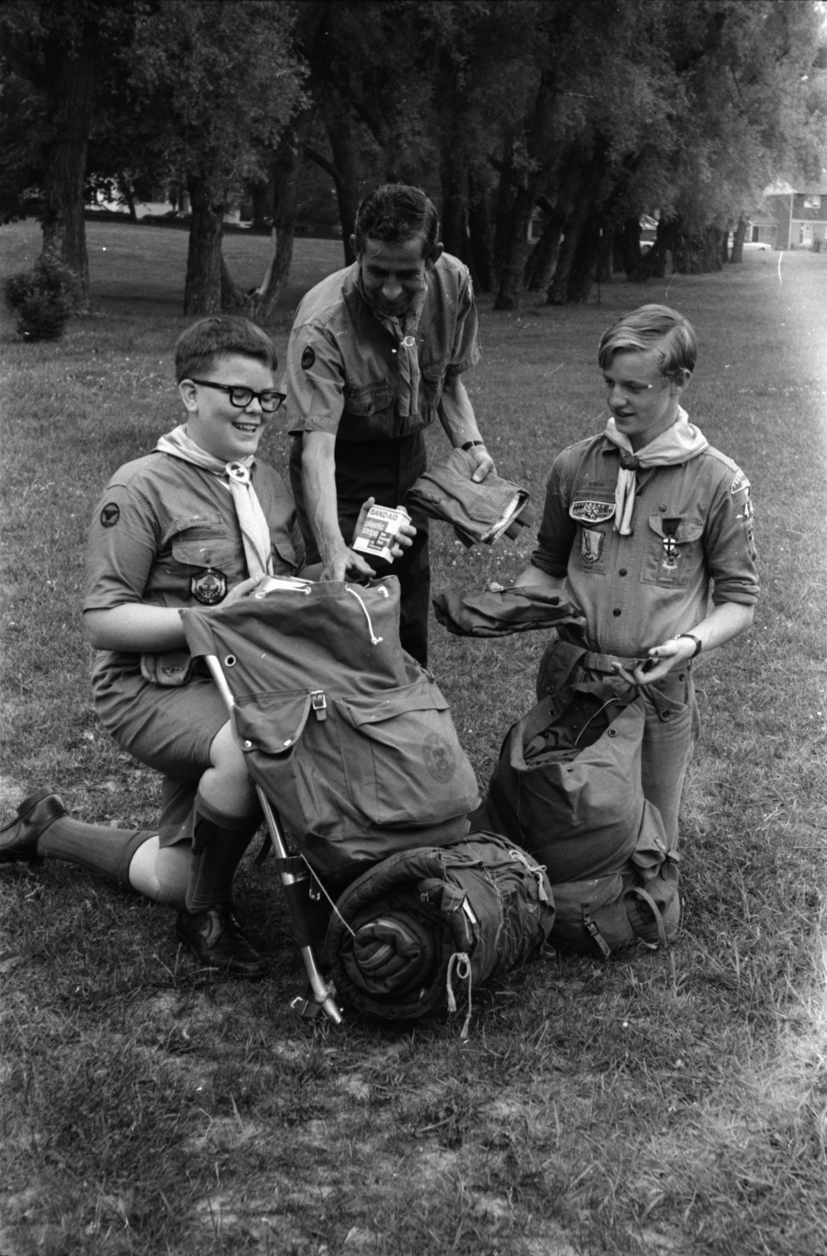 Two Boy Scouts and Leader Prepare for Trip to New Mexico, June 1968 image