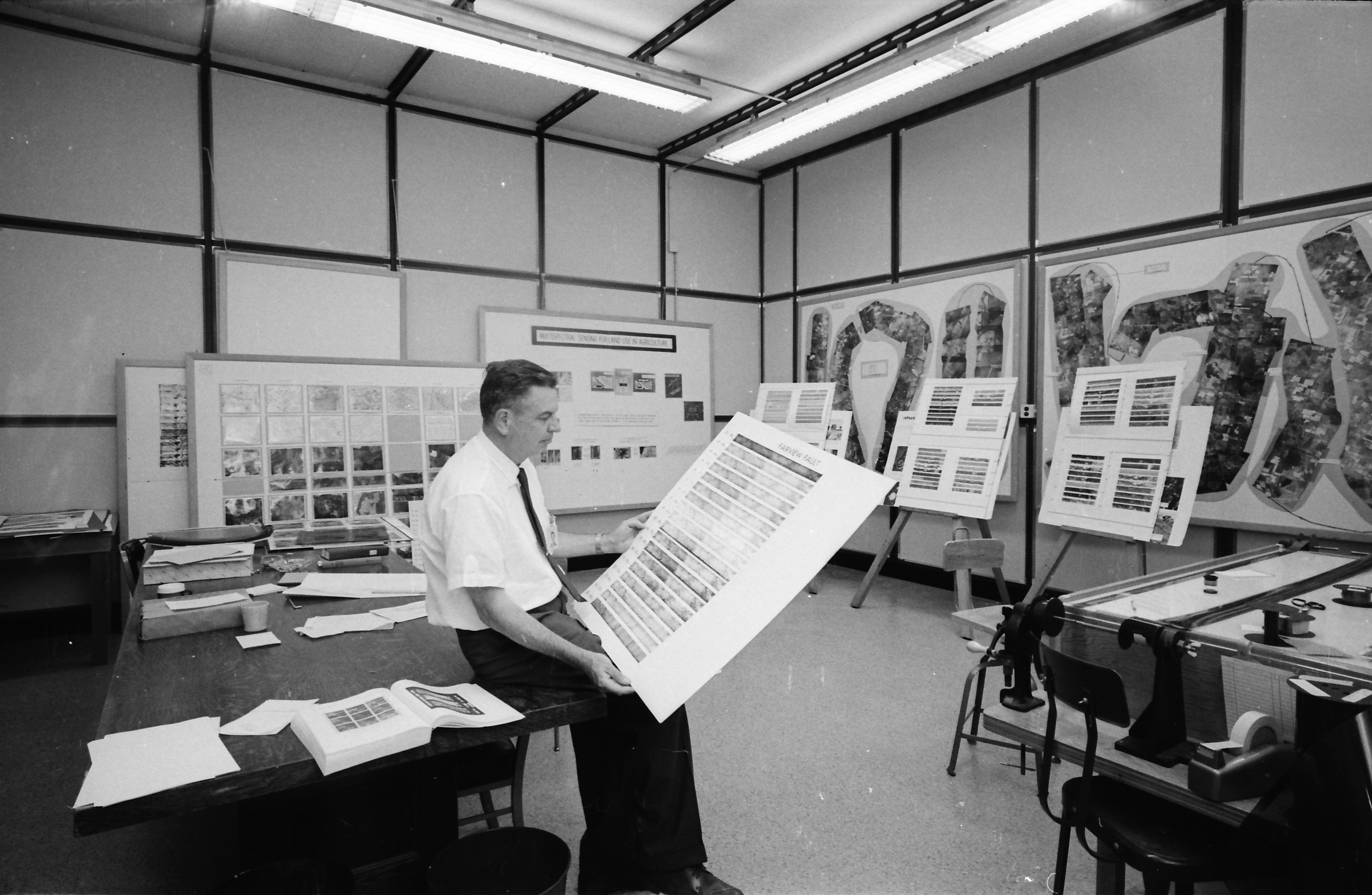 Man Looking Over Charts, Willow Run Airport, June 1968 image