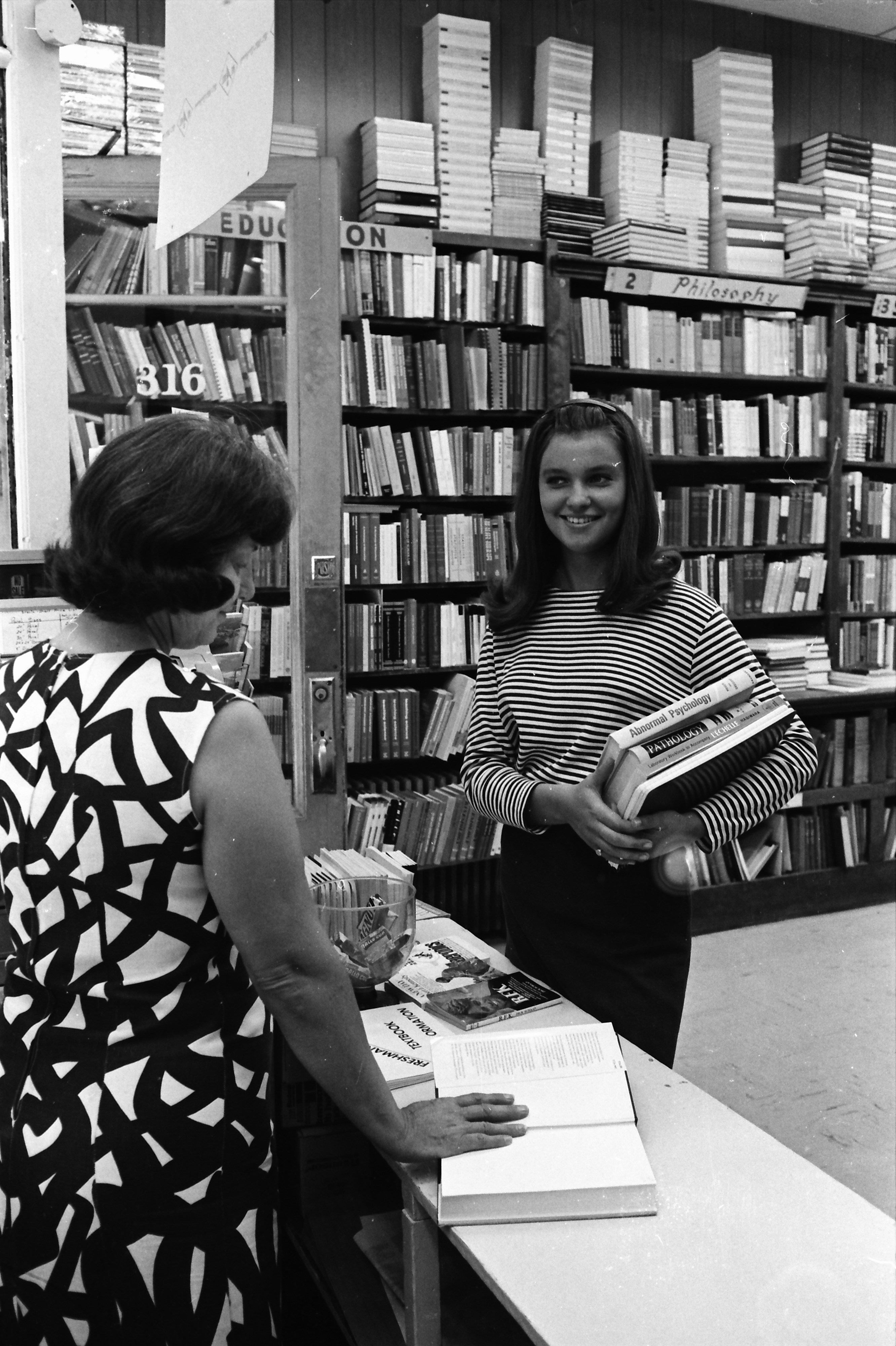 Inside Wahr's Bookstore, July 1968 image