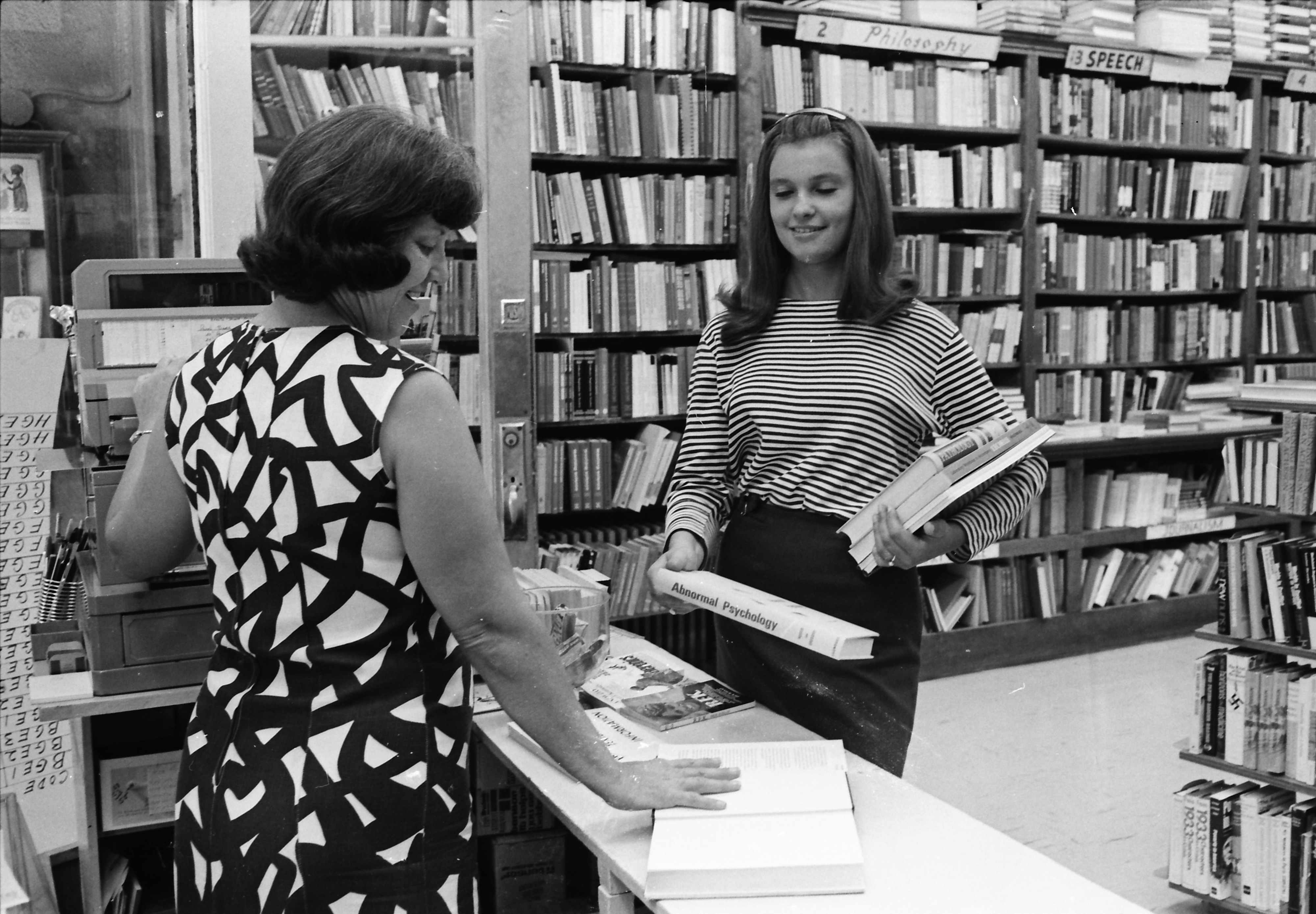 Inside Wahr's Book Store, July 1968 image