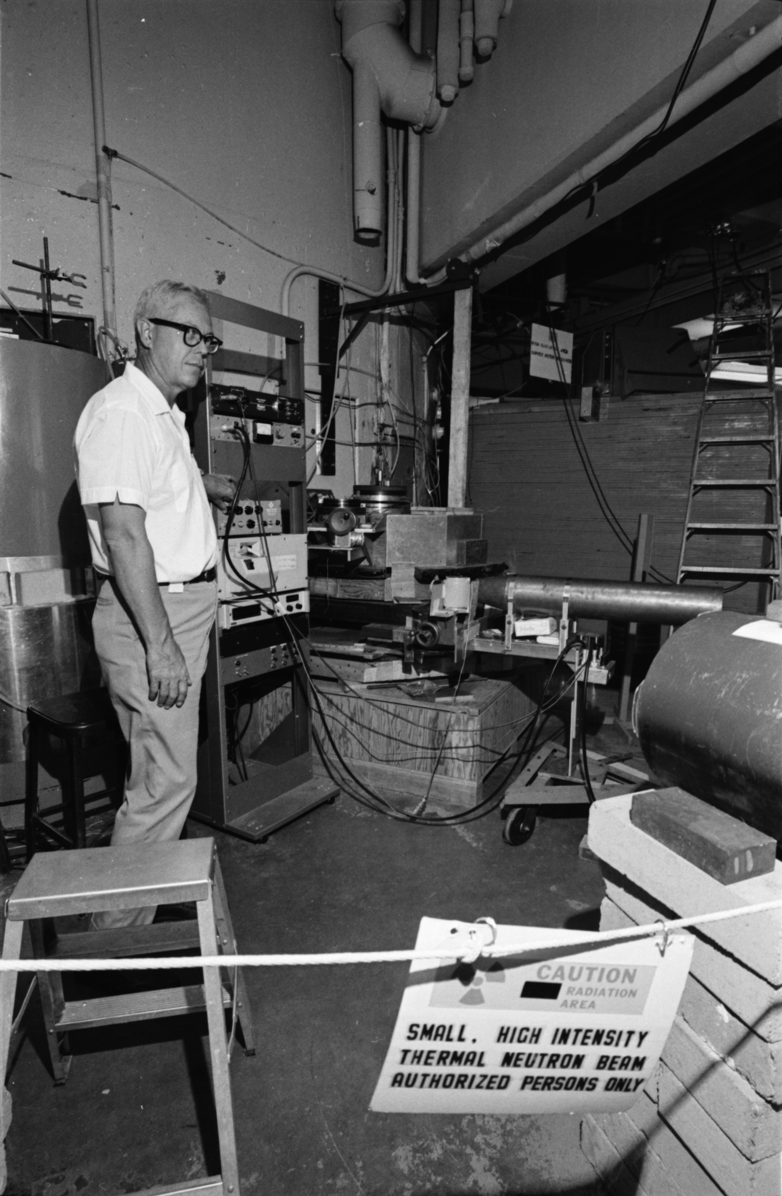 Professor William Kerr, in the Phoenix Memorial Laboratory, North Campus, August 1968 image