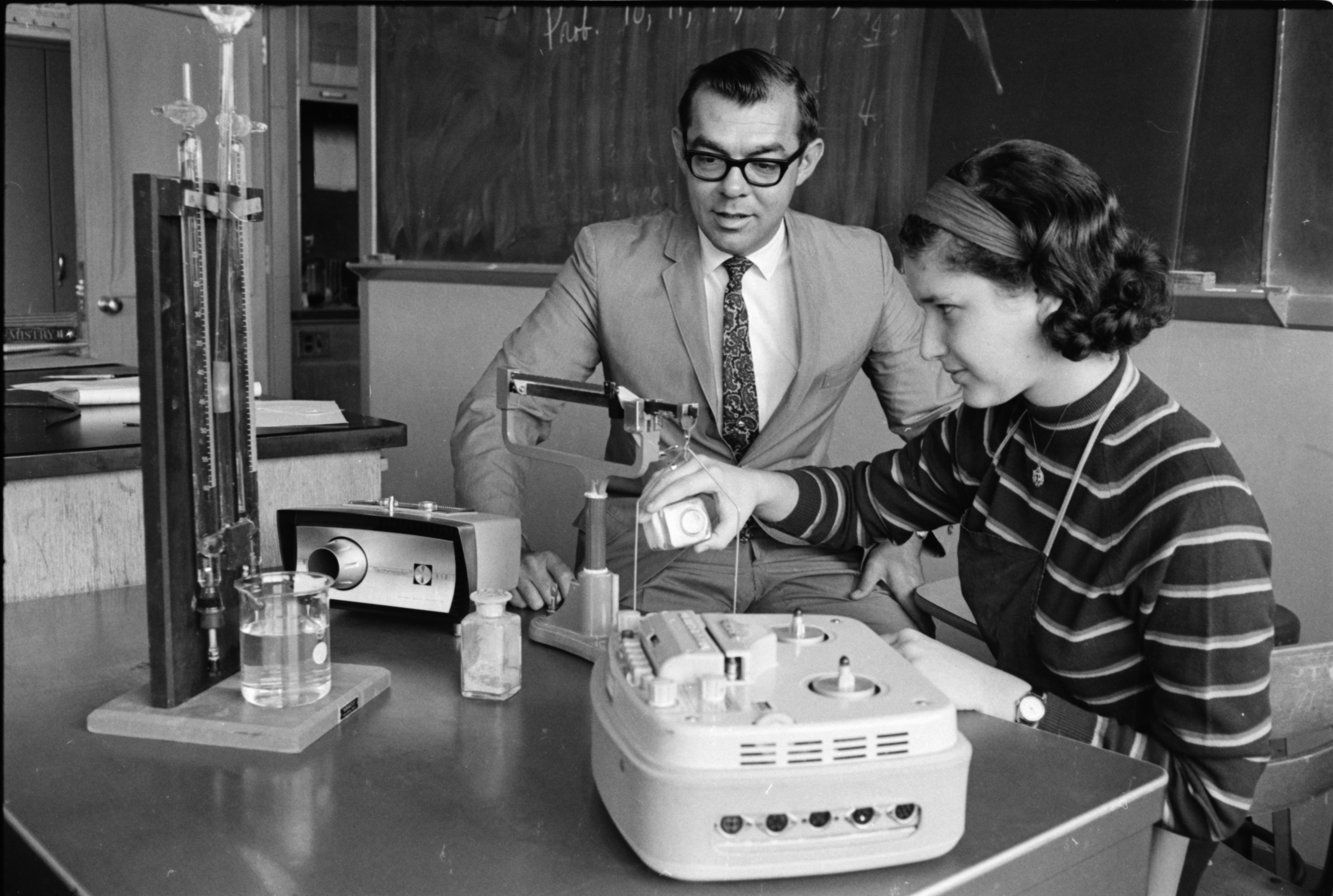 New Equipment Tested in Pioneer High School Science Lab, September, 1968 image