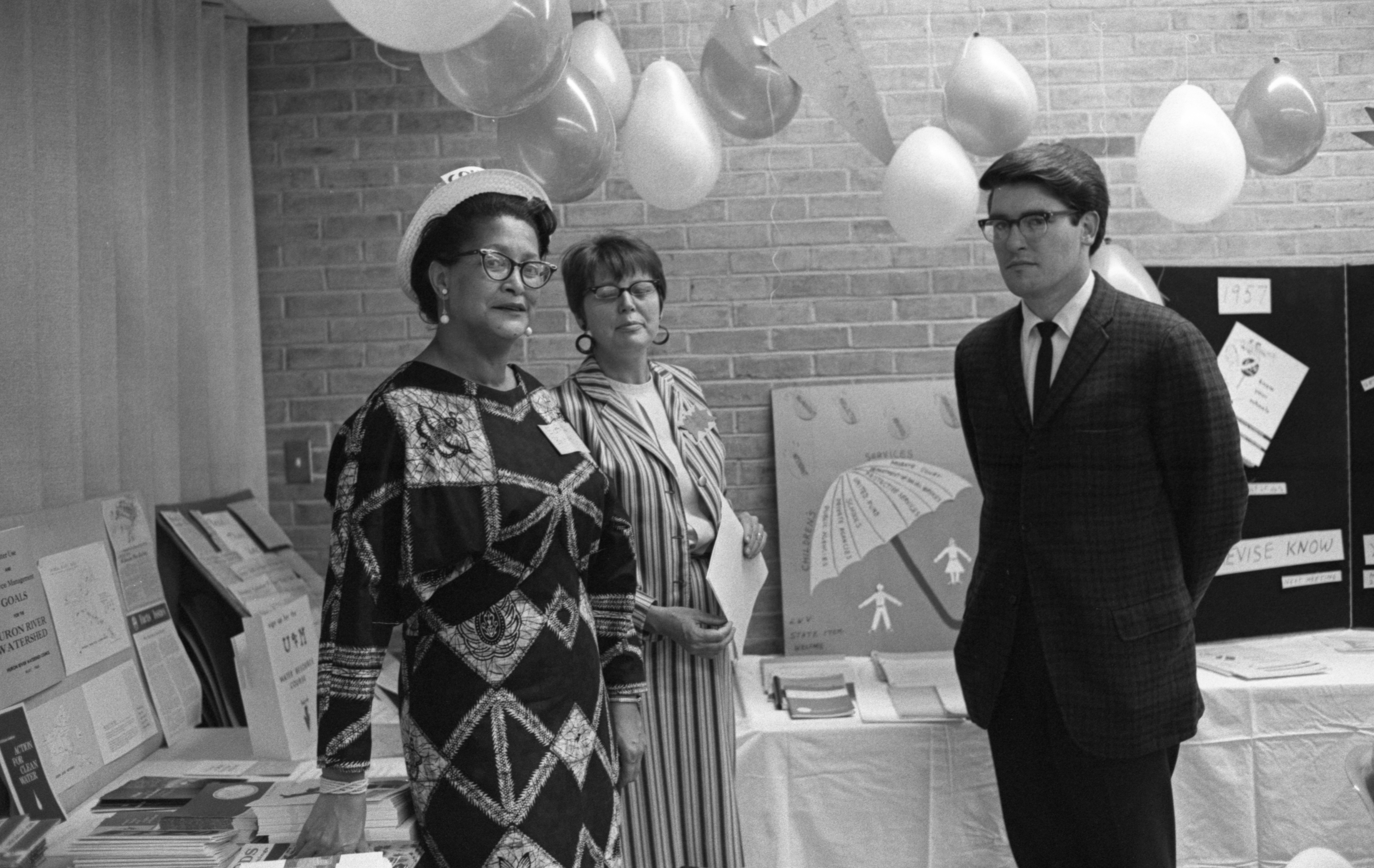 Mrs. Milton P. Brown, Mrs. Francis E. Fischer, & Jerome Fulton At The League Of Women Voters' Membership Coffee, September 1968 image