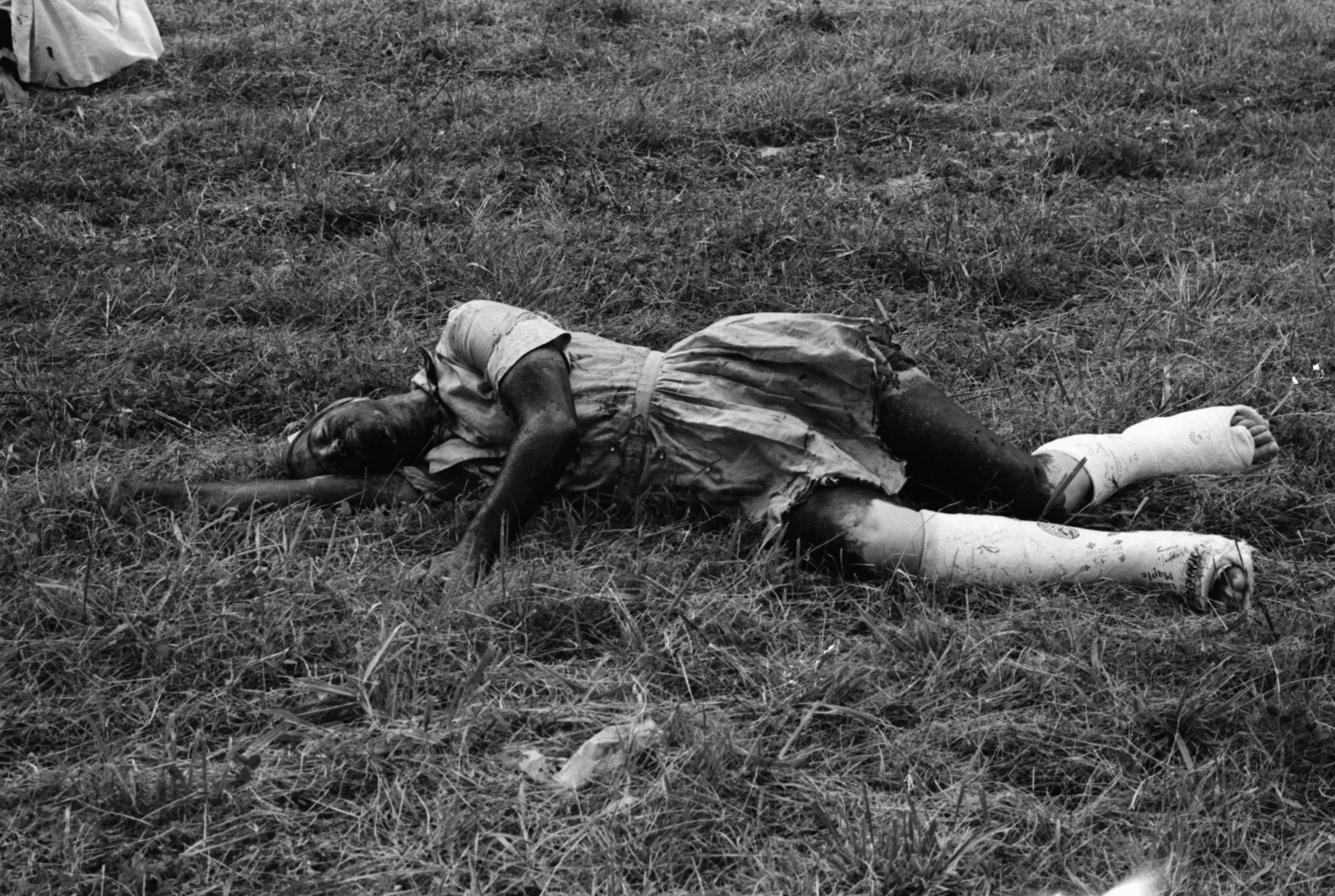 Pioneer High School student Kim Givens, in Civil Defense Mock Disaster near Huron High School, September 1968 image