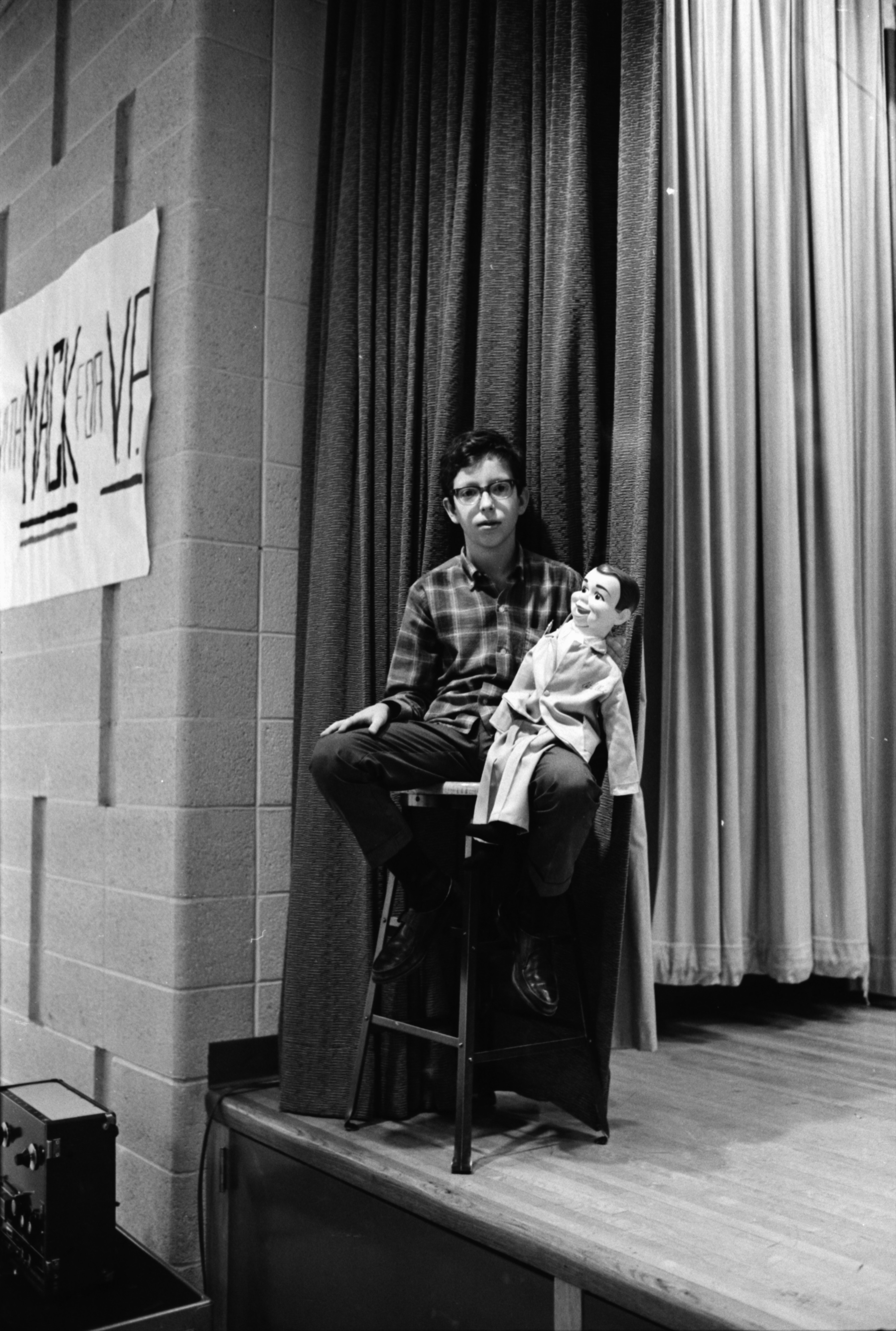 Ventriloquist at Forsythe Junior High School's Talent Show, January 1969 image