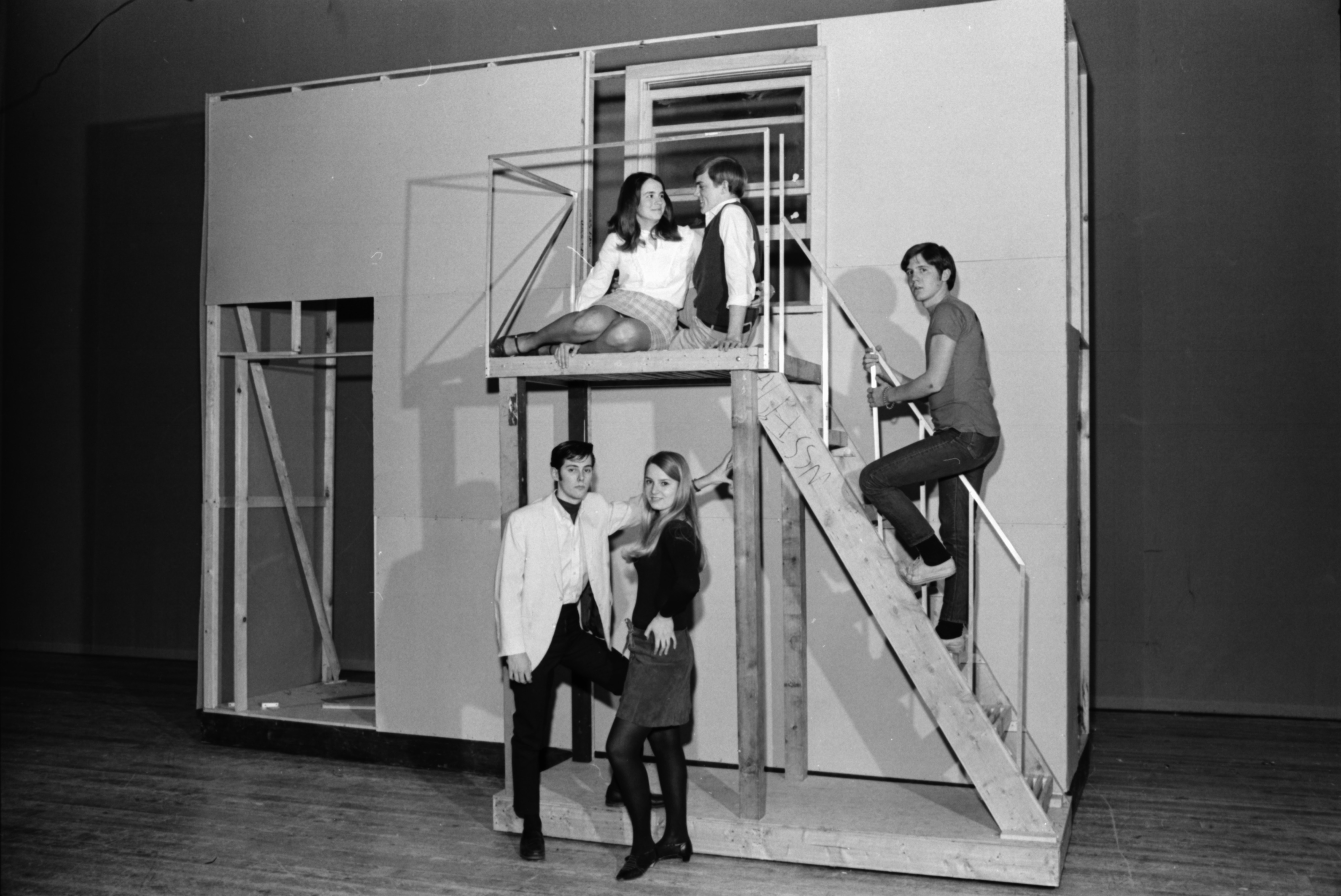 "Rehearsals for ""West Side Story"" at Ann Arbor High School, January 1969 image"