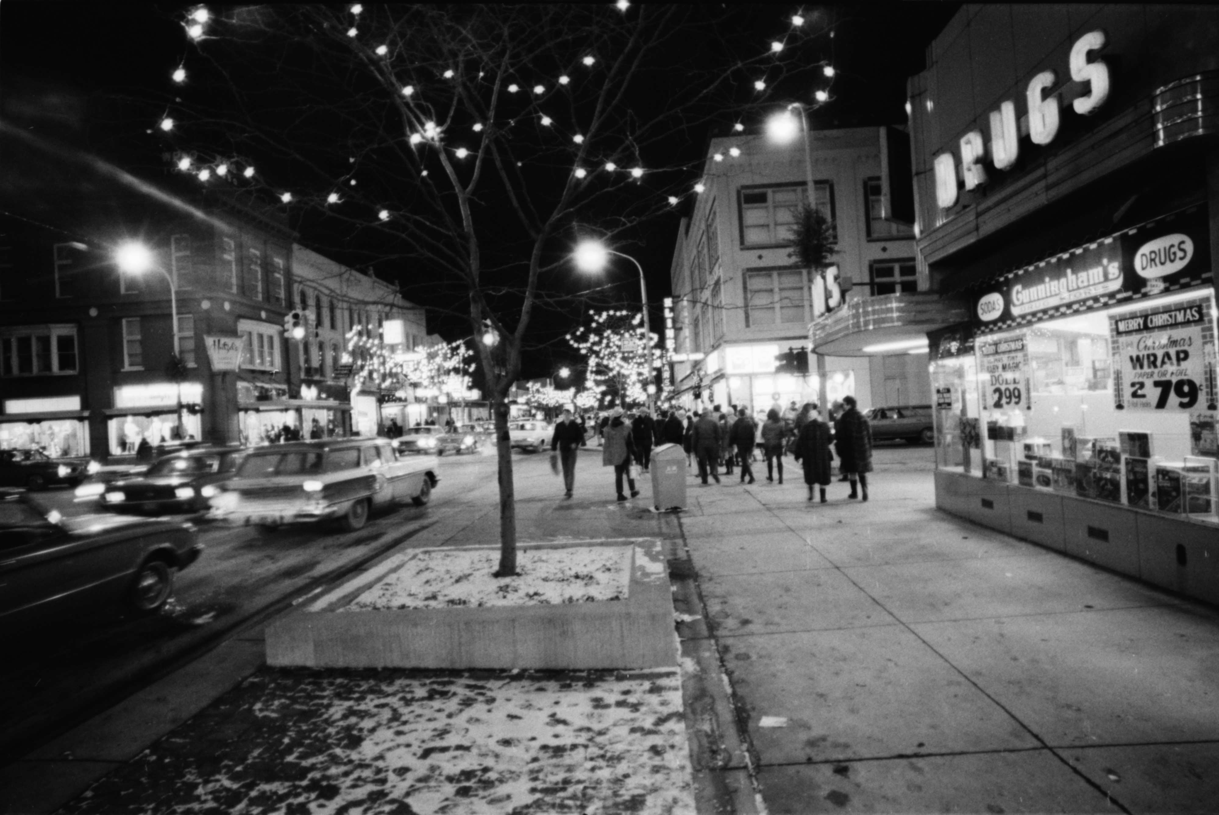 Midnight Madness in Downtown Ann Arbor, Corner of Main and Liberty Streets, December 1968 image