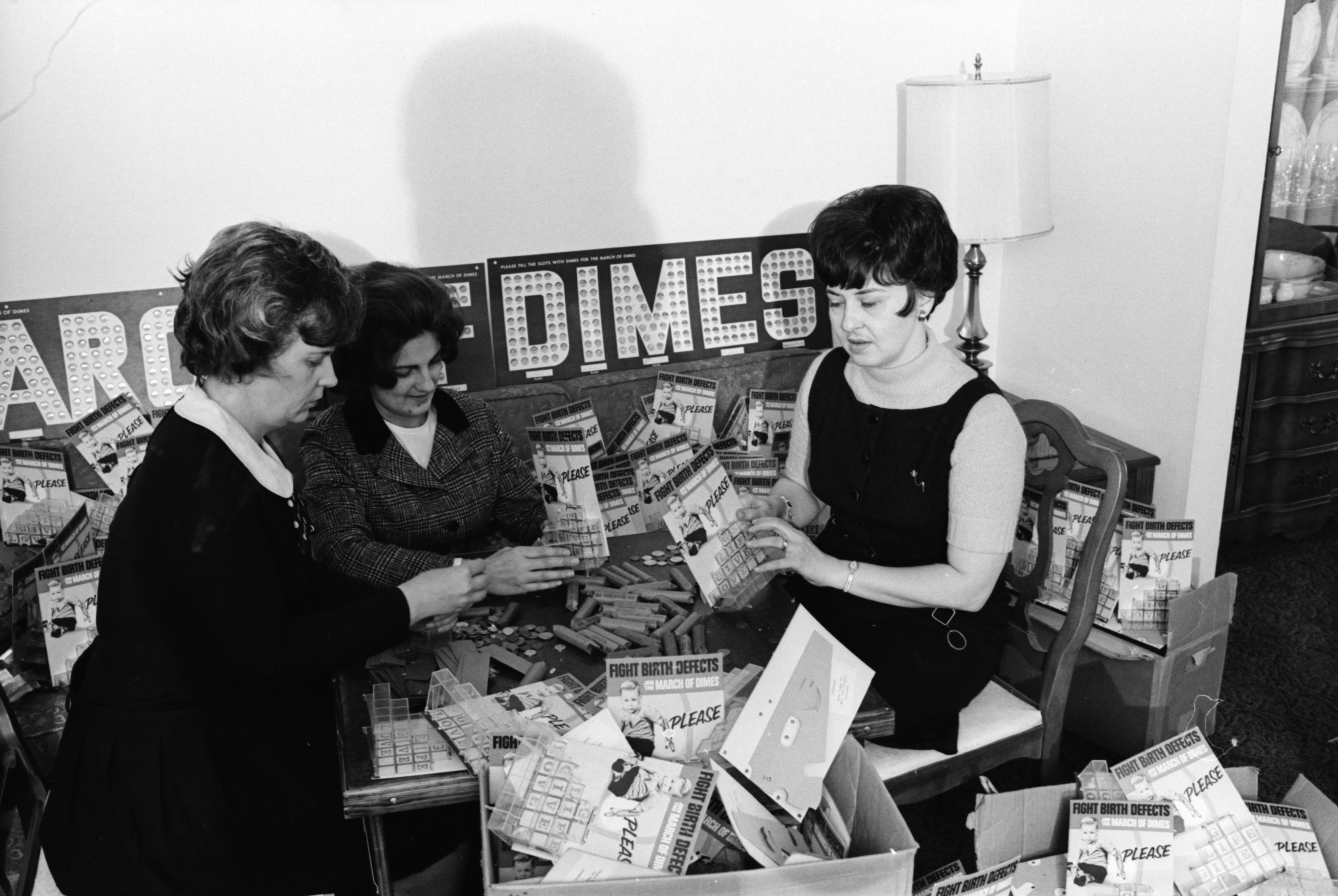 Beta Sigma Phi Members Distribute And Collect March Of Dimes Canisters, February 1969 image