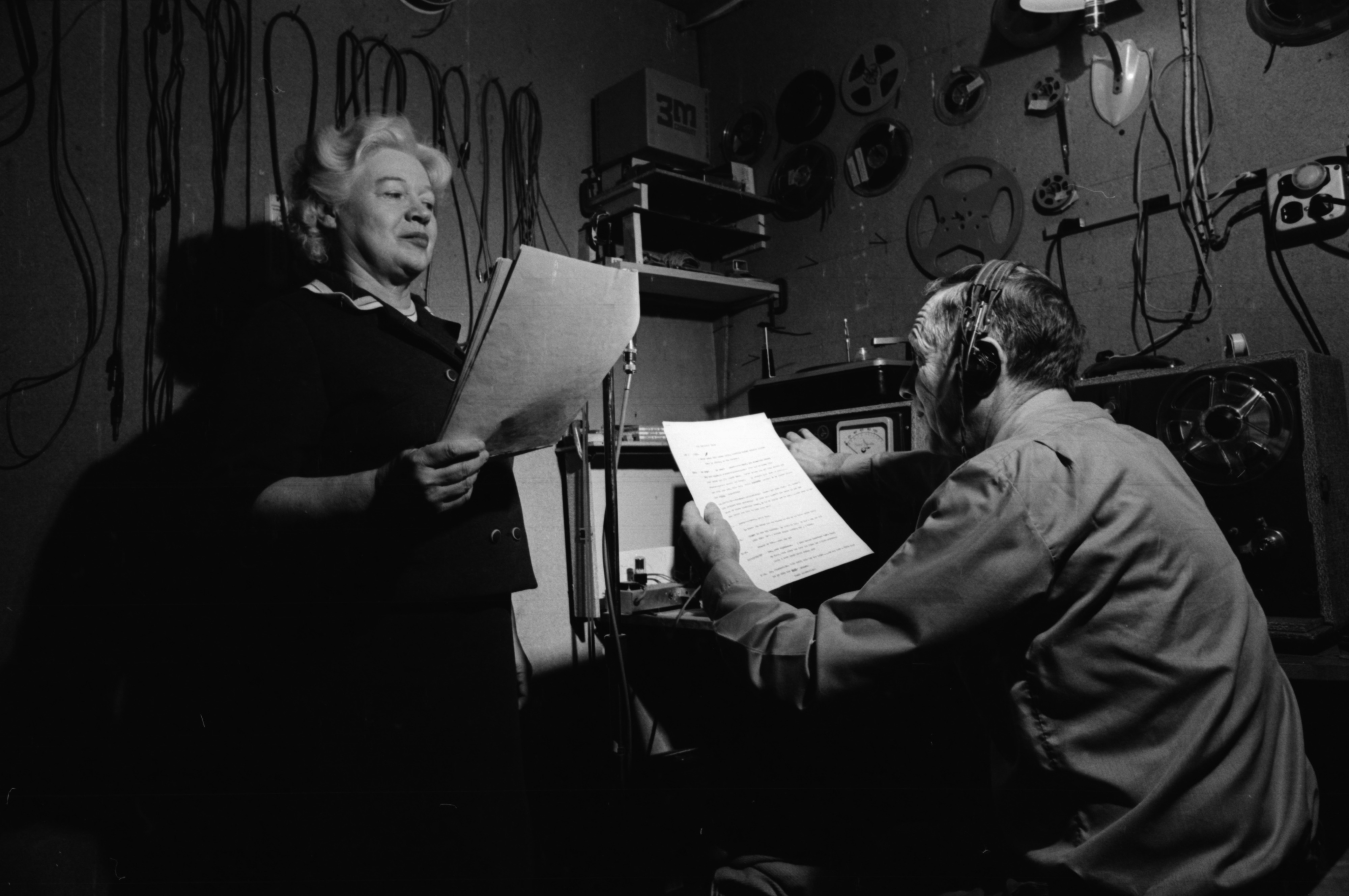 Meredith and Thyra Bixby record audio for their puppet show, February 1969 image