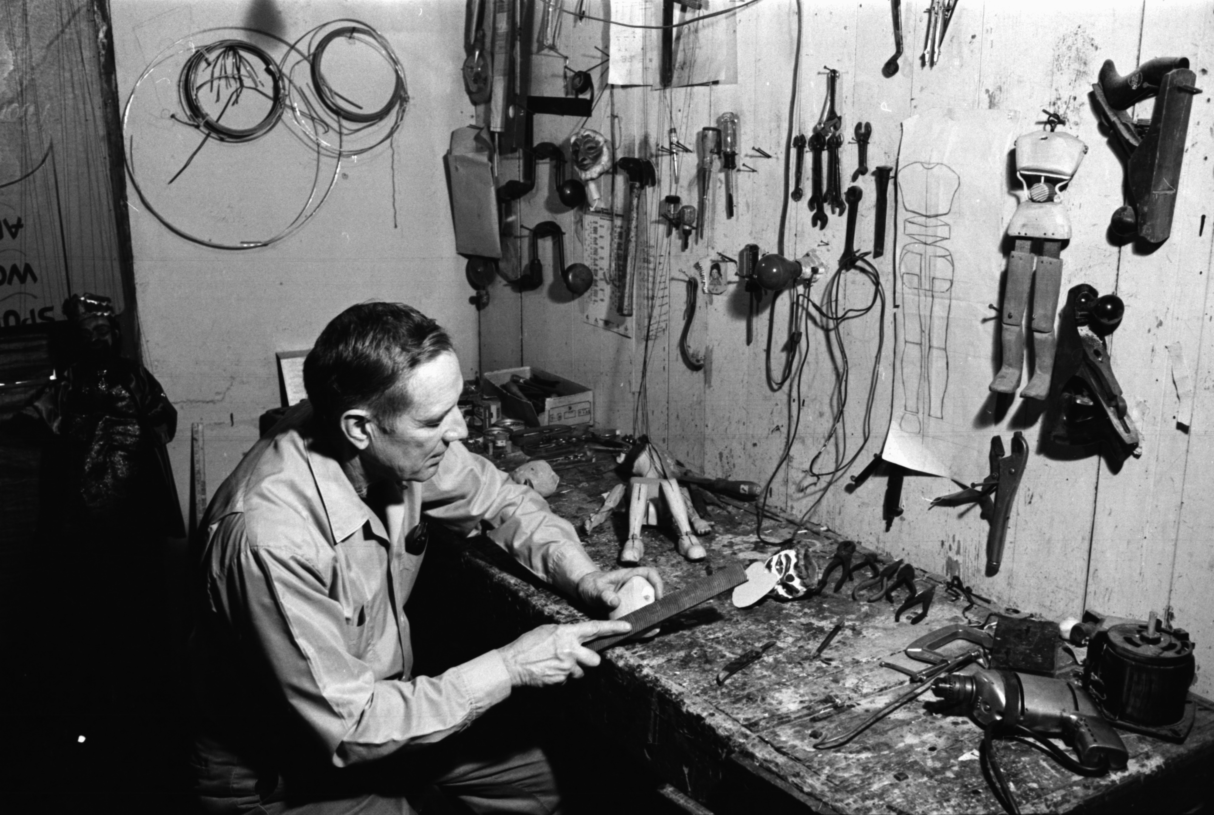 Meredith Bixby in his workshop, February 1969 image