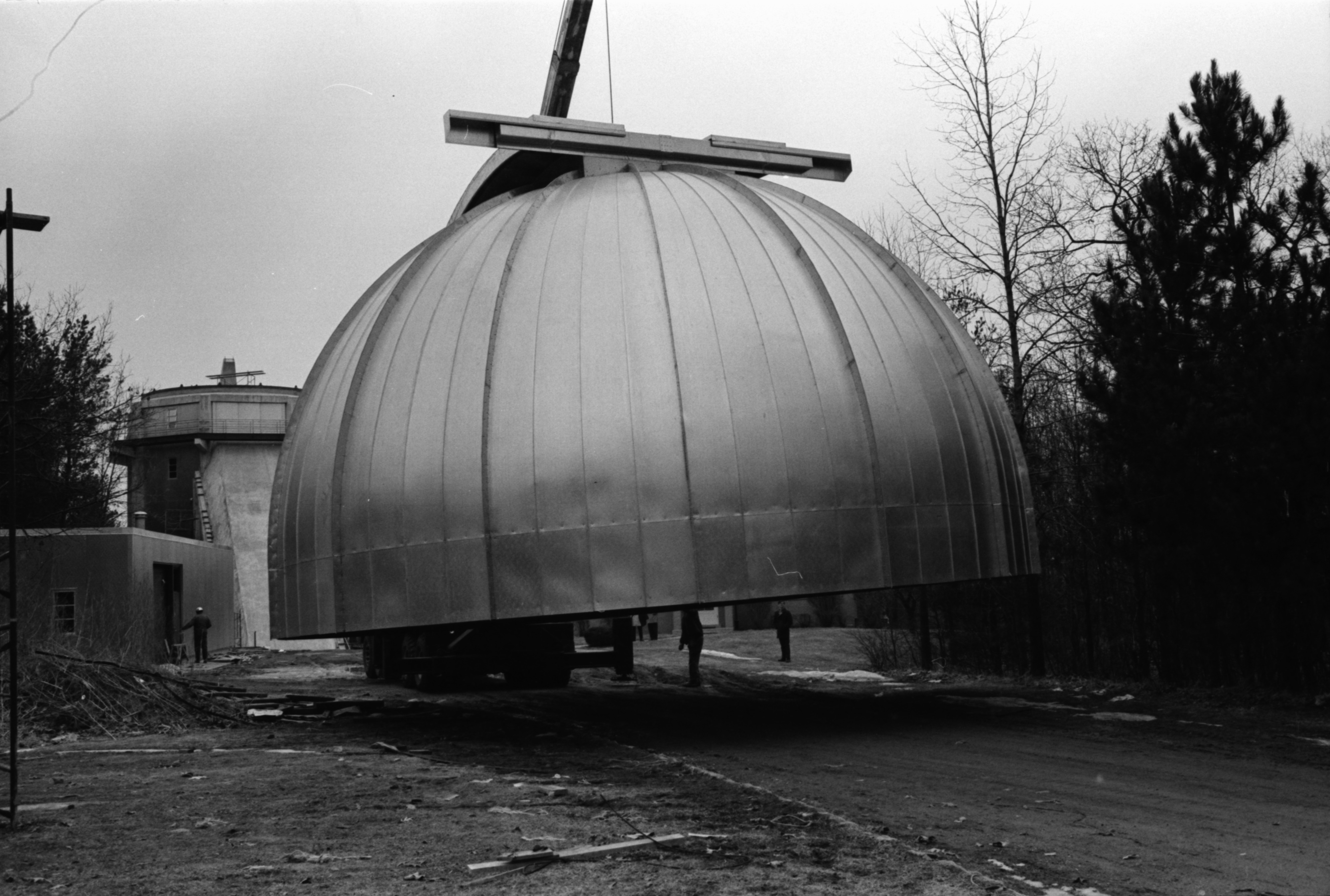 Dome for Observatory being lifted into place, Stinchfield Woods, February 1969 image