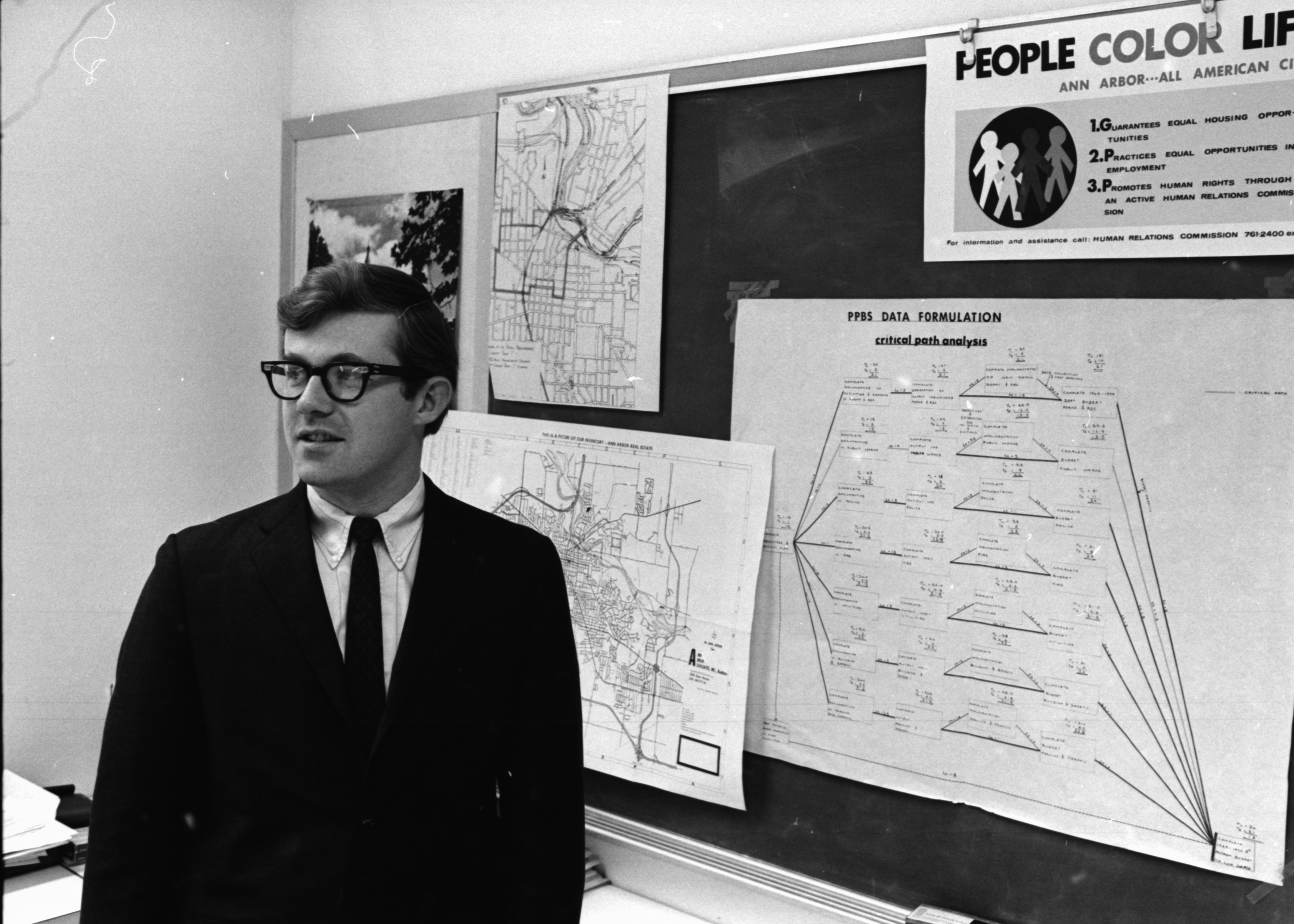 Dr. Barton R. Burkhalter Inside The City Planning Office, February 1969 image