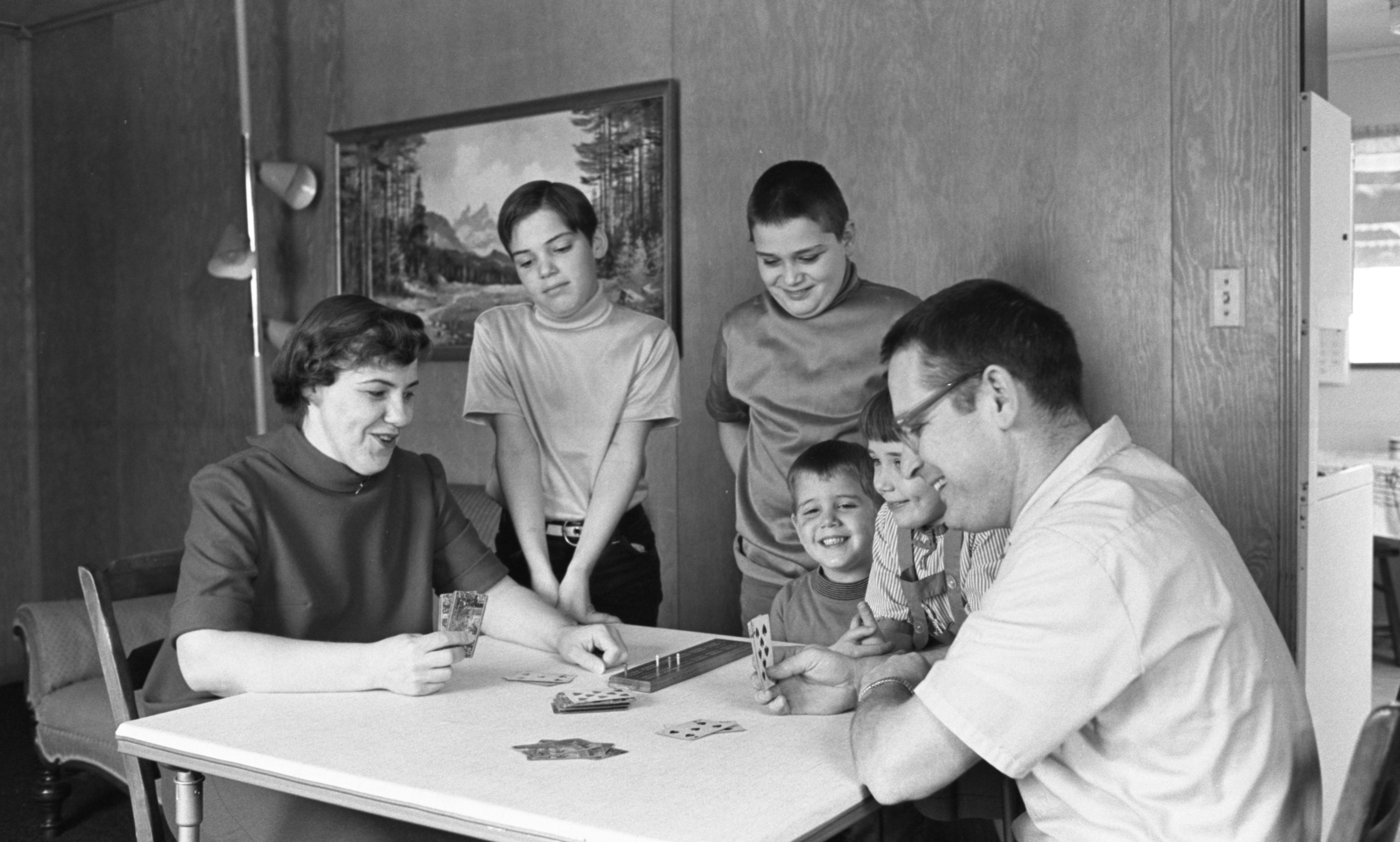 The Wilhelmi Children Watch Their Parents, Kay & Vince, Play Cribbage, February 1969 image
