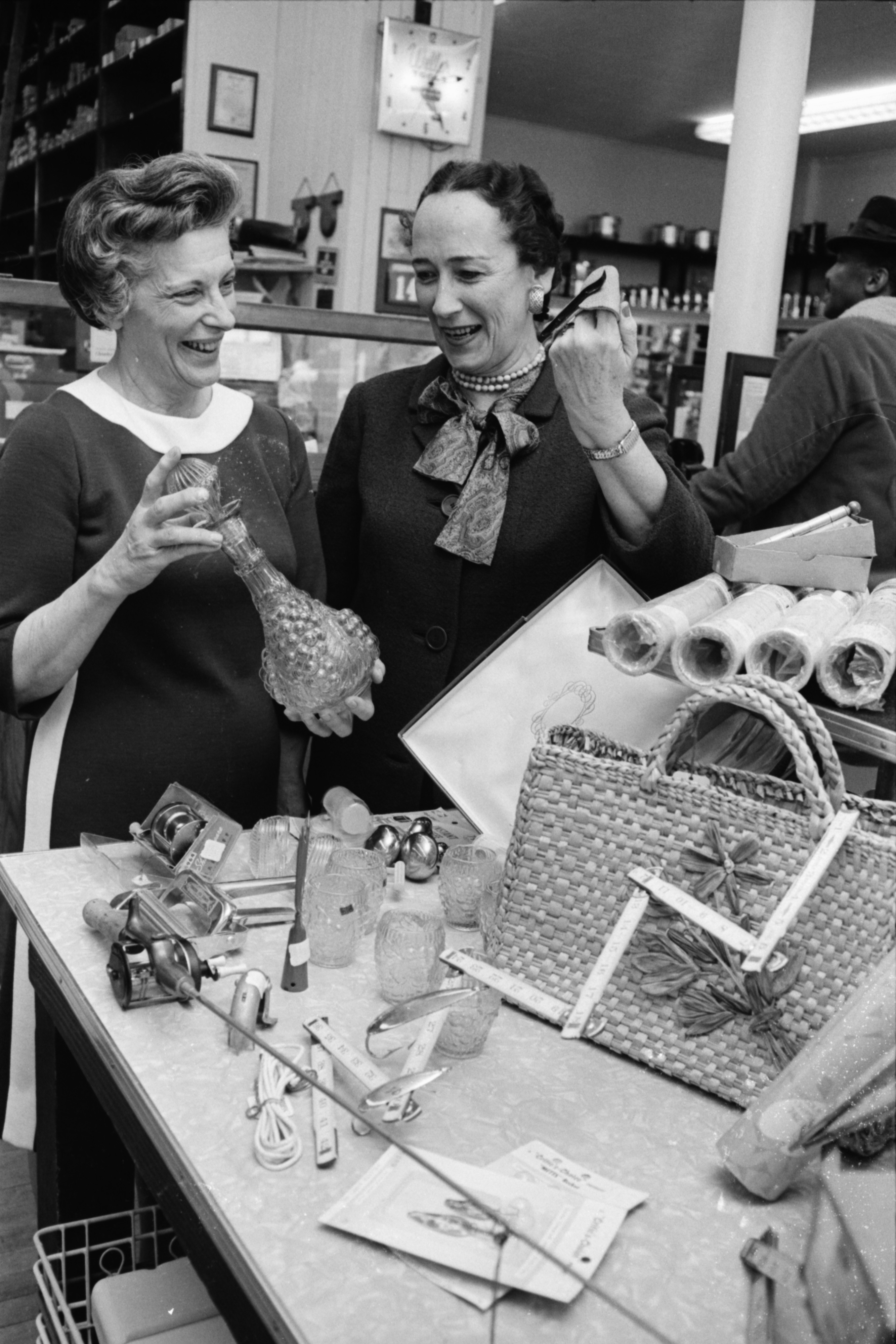 Margaret Cray & Mrs. Clarence E Crook Inside Fischer's Hardware, February 1969 image