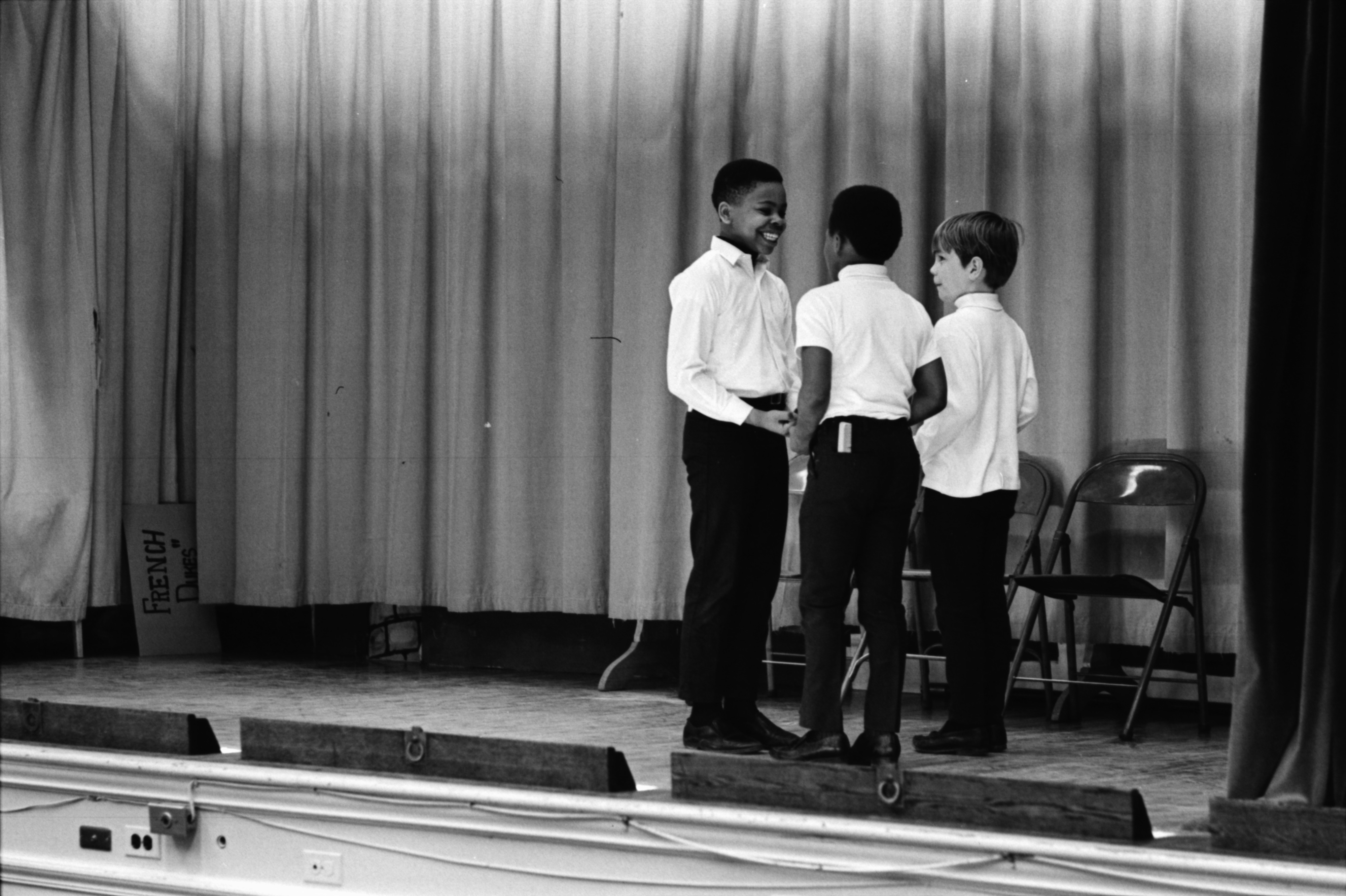 Mack French Students Perform Skit in Honor of French Dukes Drill Team, March 1969 image