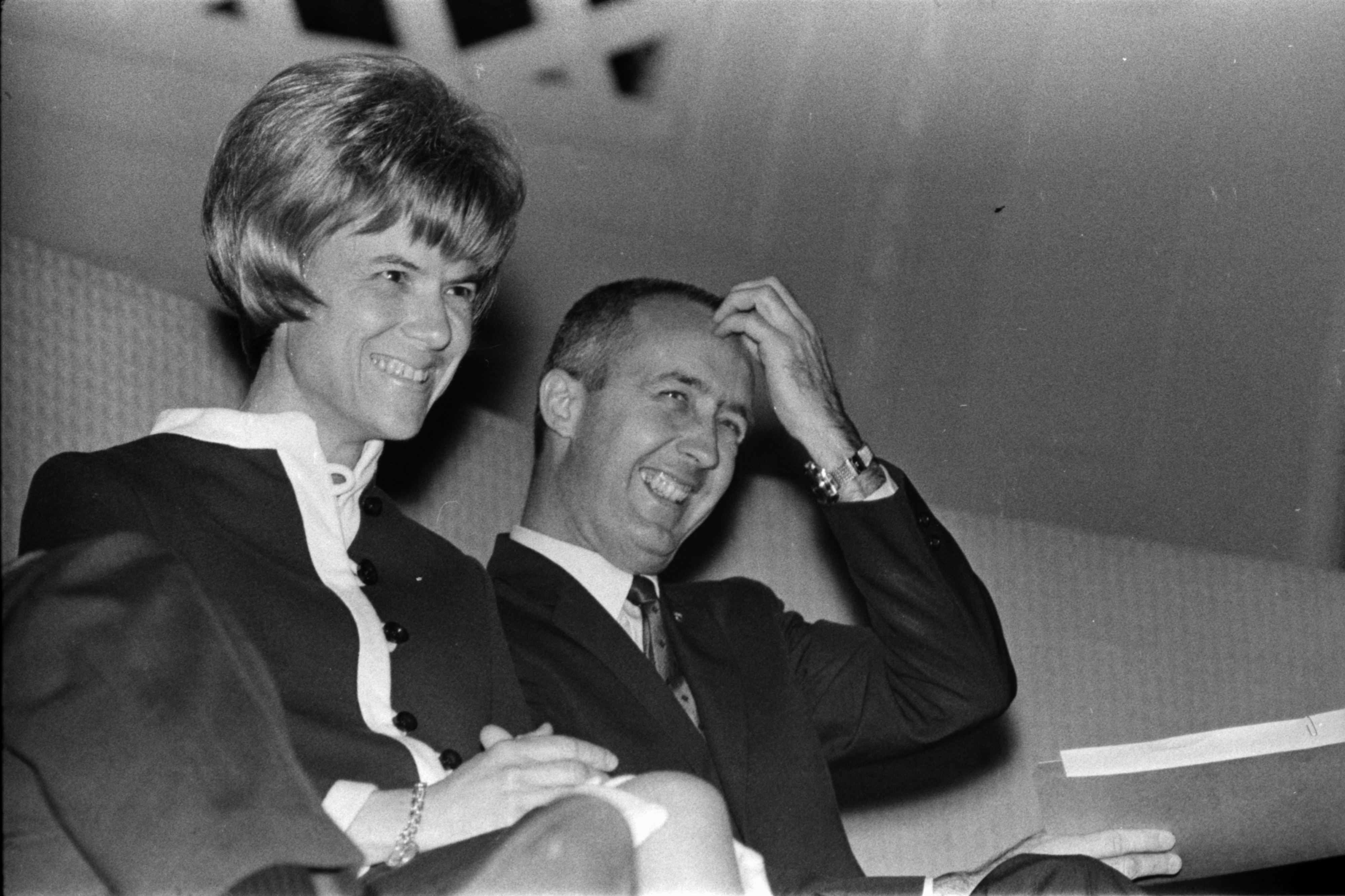 Astronaut Col. James A. McDivitt and wife Patricia at Hill Auditorium, April 1969 image