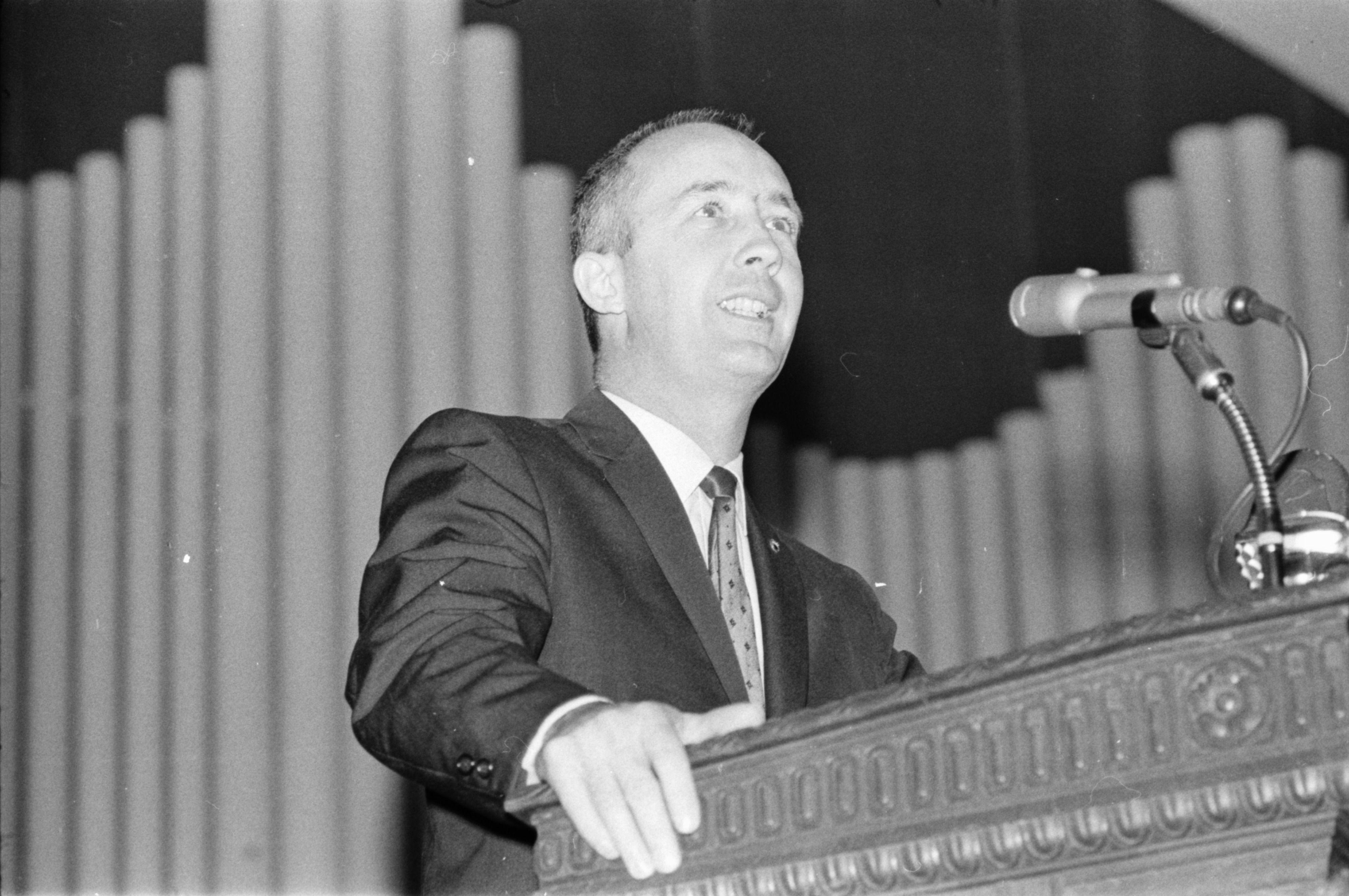 Astronaut Col. James A. McDivitt at Hill Auditorium, April 1969 image