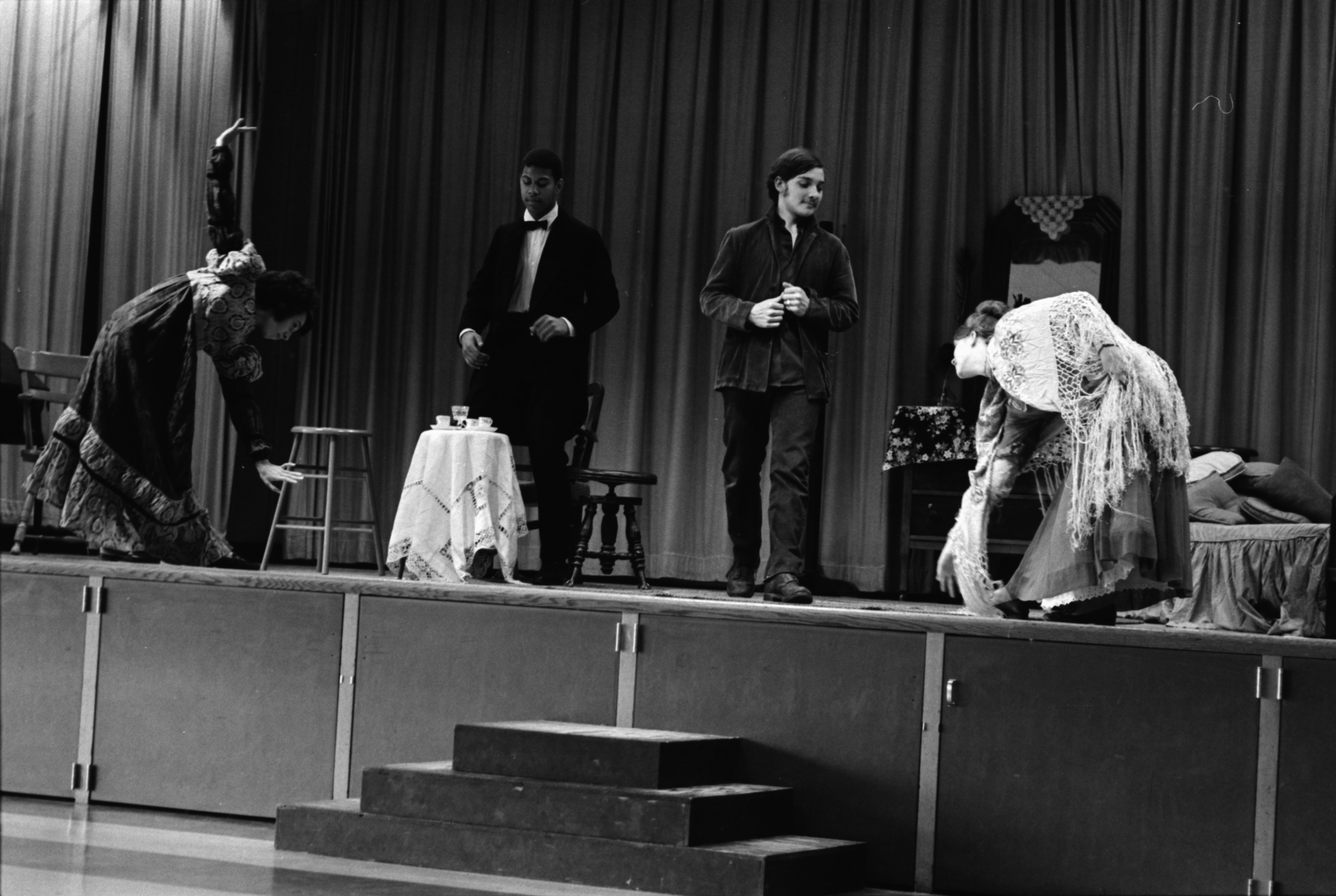 "Forsythe Junior High School rehearsal of ""Madwoman of Chaillot,"" April 1969 image"
