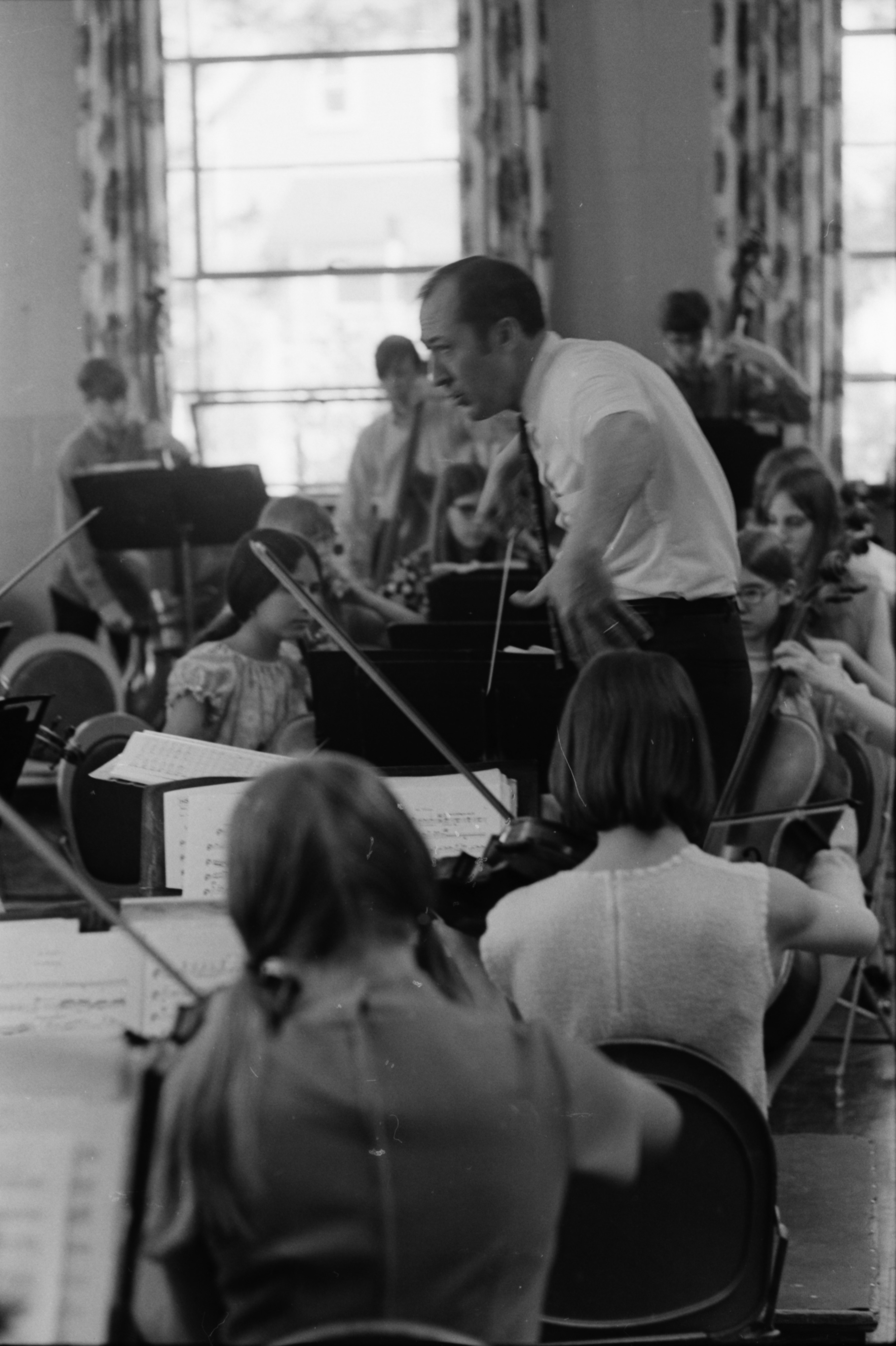 Charles Gabrion conducts a rehearsal for Ann Arbor Public Schools' annual Spring Music Festival, April 1969 image