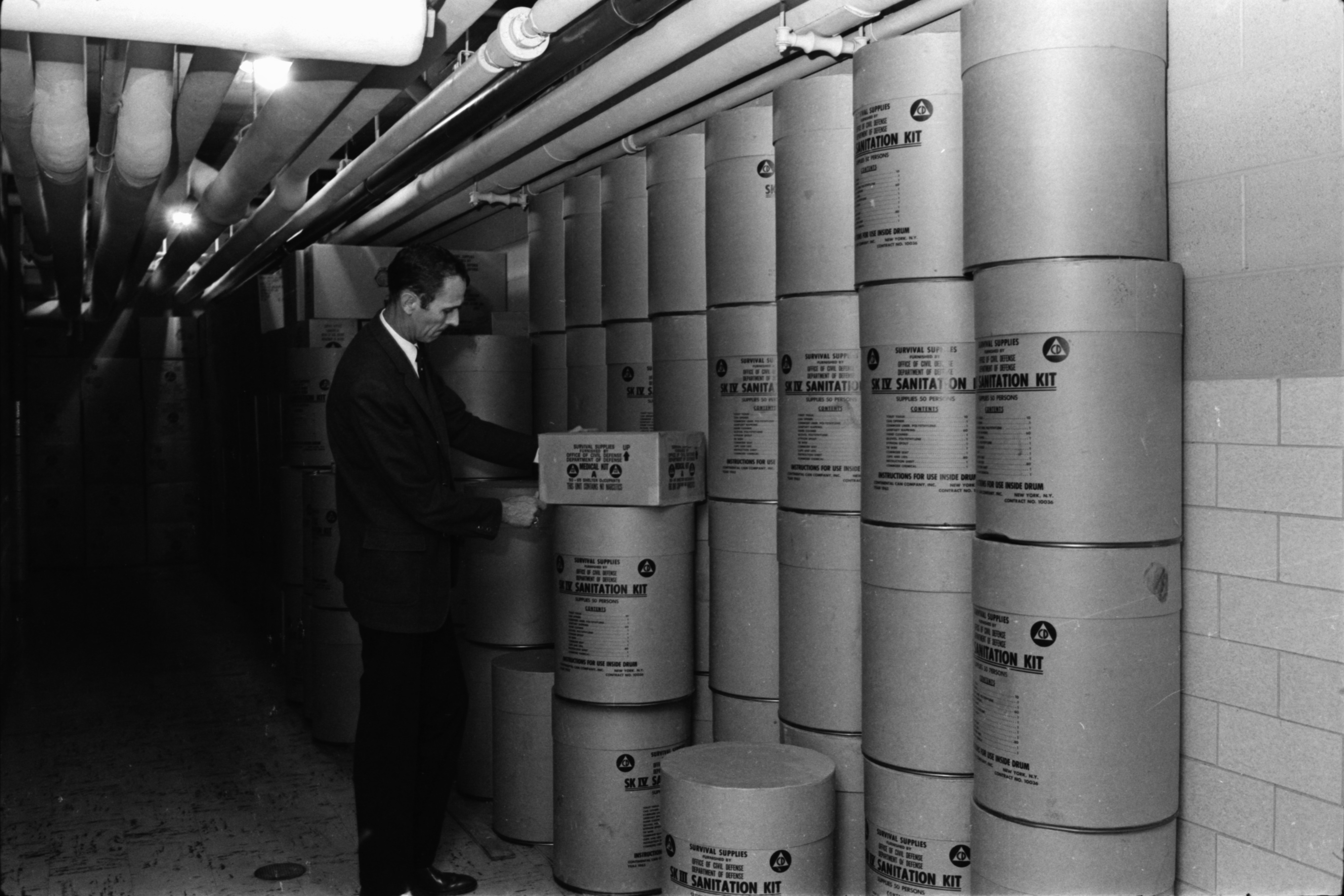 Palmer Inspects Survival Kits in Washtenaw County Building's Shelter, September 1969 image