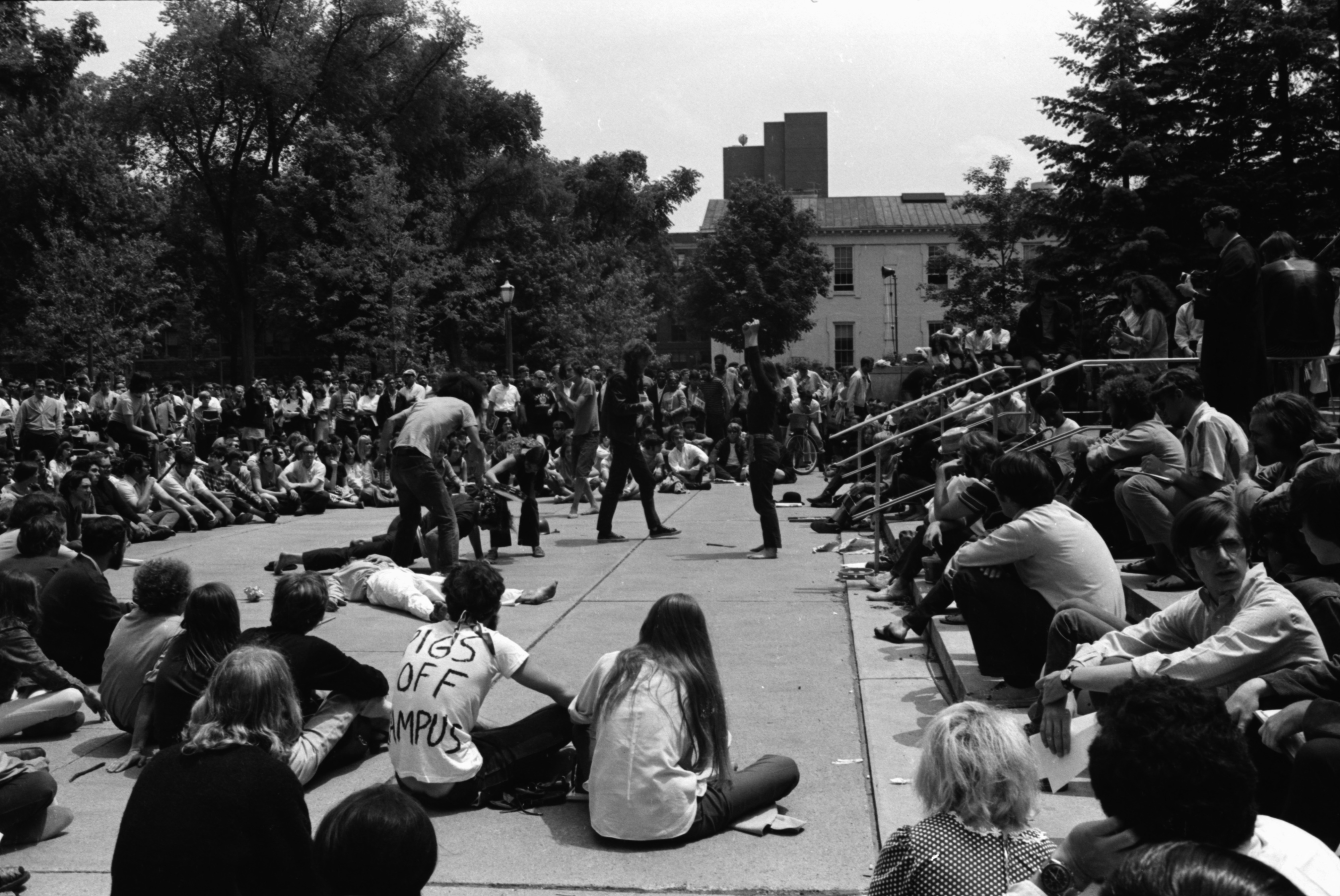 Protest on U-M Diag Following South University Riot, June 18, 1969 image