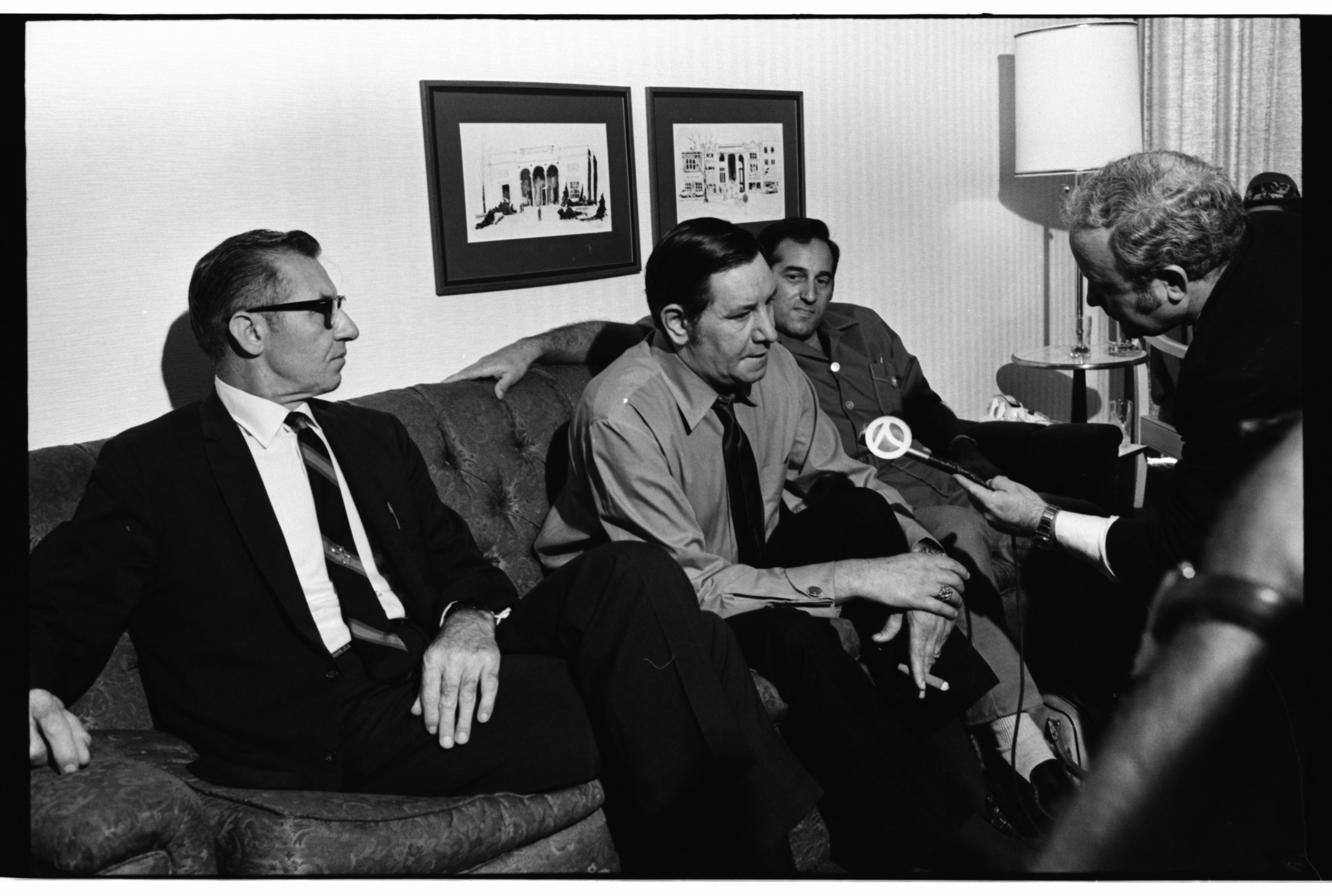 Ann Arbor Police Department - Chief of Police Walter E. Krasny Confers With Psychic Peter Hurkos and Ed Silver on Coed Murders, July 1969 image