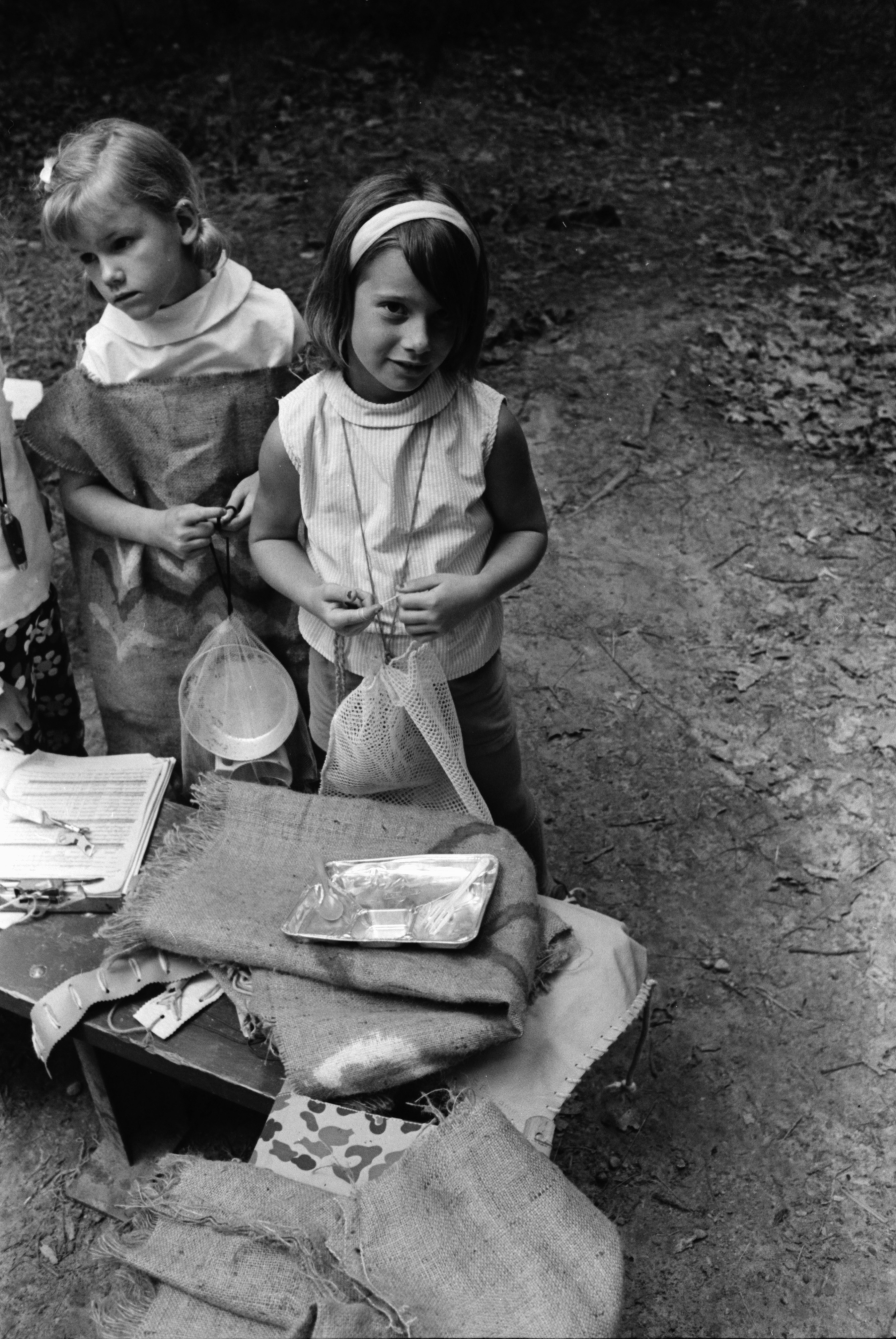 "Girl Scouts Play ""Ottawa Indians"" on Camping Trip, August 1969 image"
