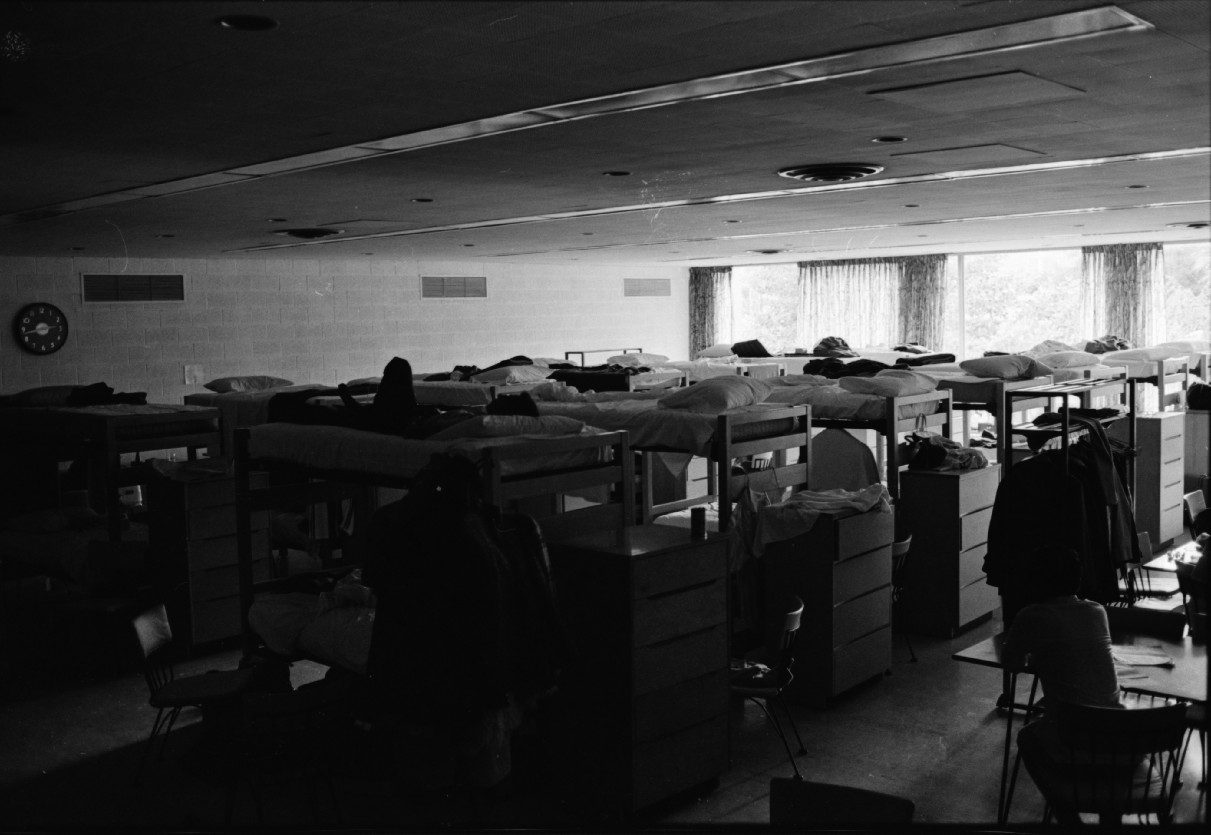 Students Stay in Markley Hall Dining Room Due to Overcrowding, September 1969 image