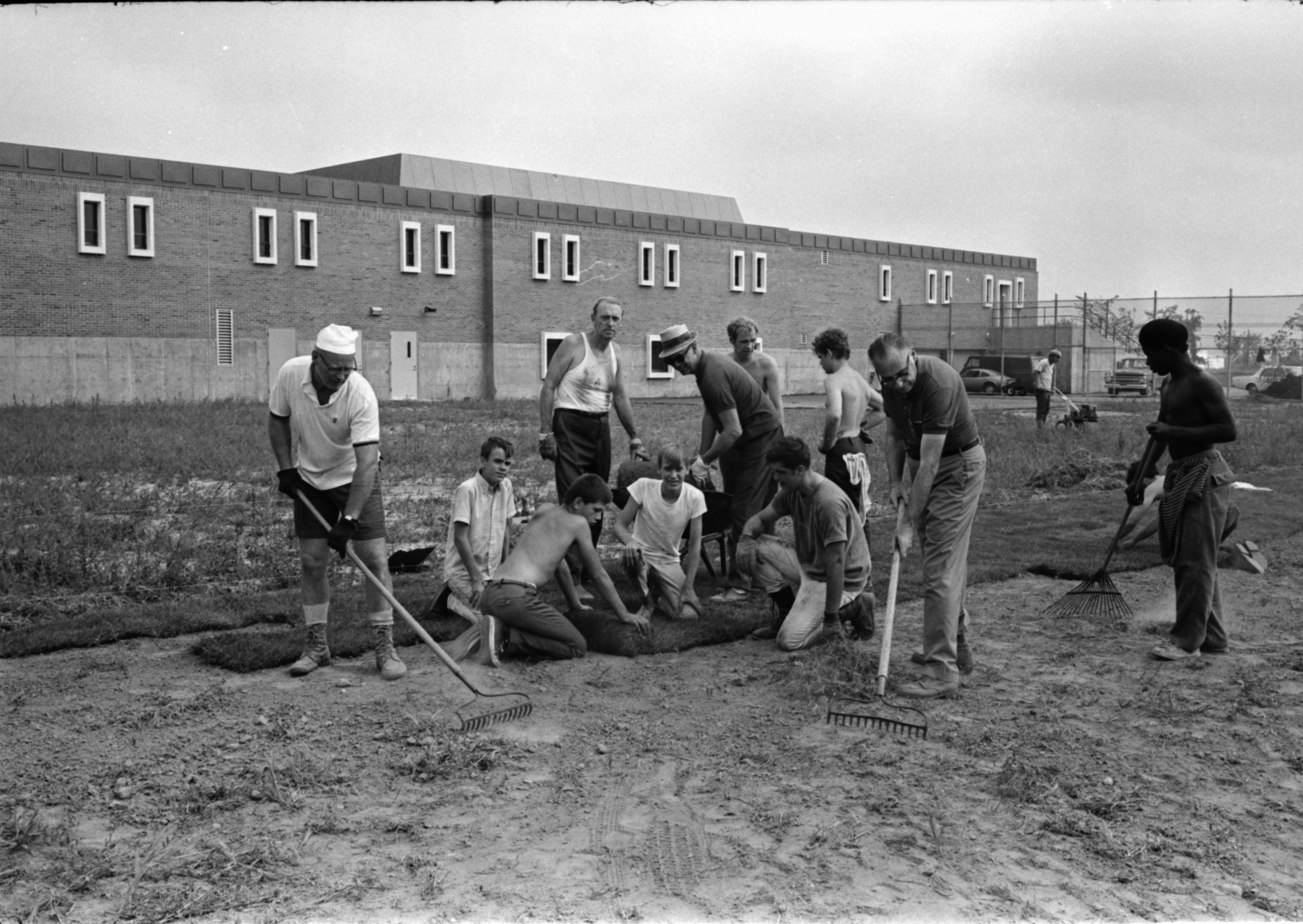 Volunteers Lay Sod on Juvenile Court Center Grounds, September 1969 image
