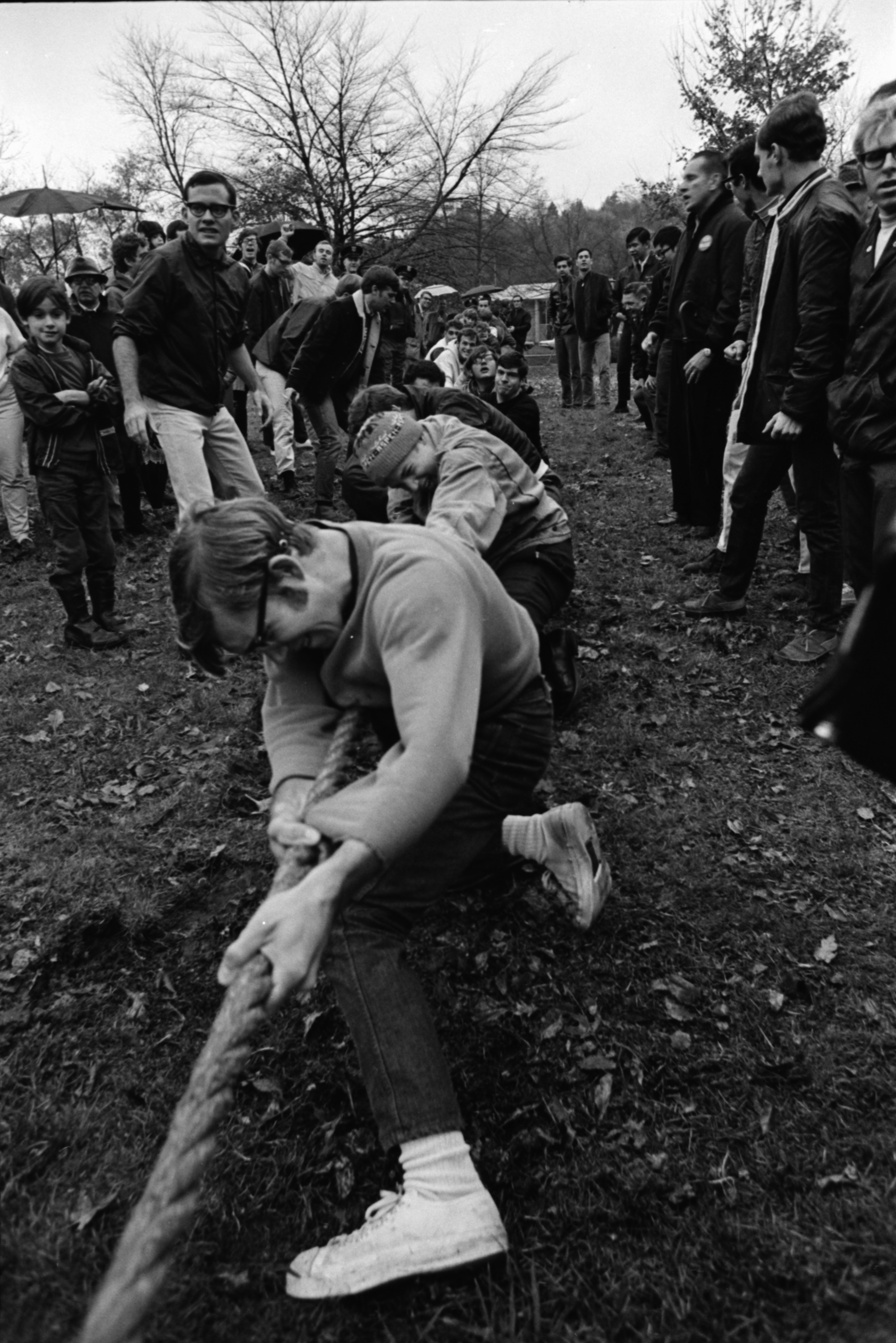 South Quad Competes in the University of Michigan Homecoming Tug of War, November 1969 image