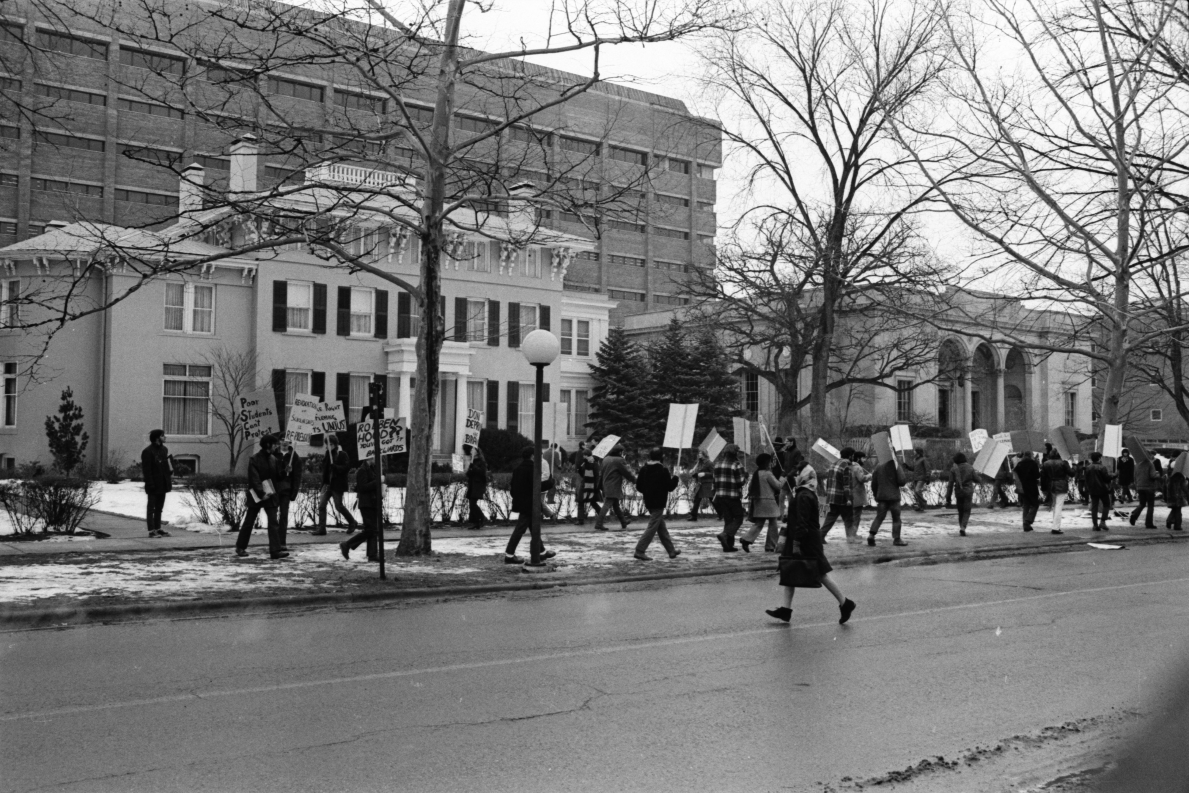 University of Michigan Students Protest In Front of President's House, February 6, 1970 image
