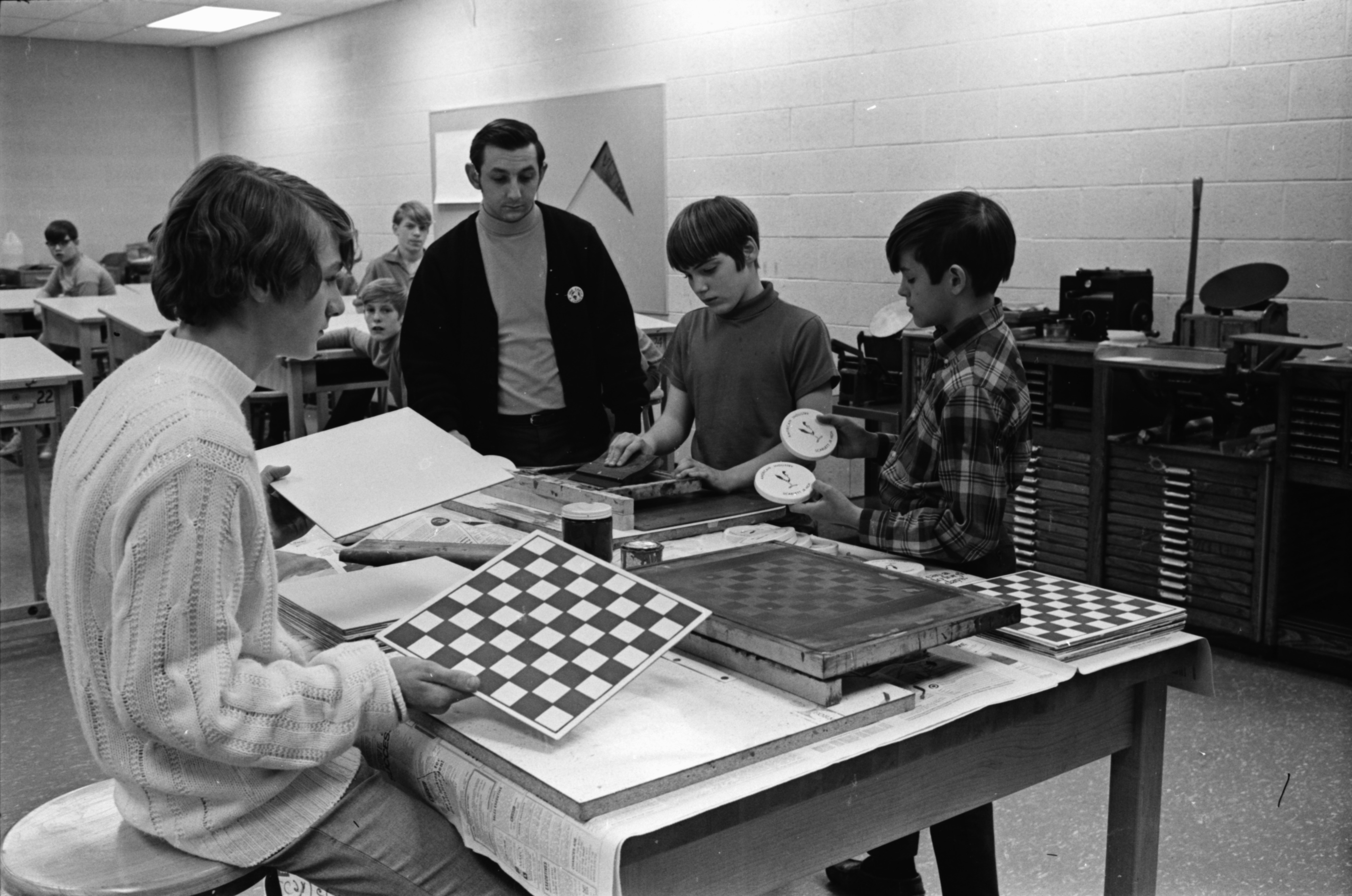 Students Make Checkerboard in Industrial Education Course at Scarlett Junior High, March 1970 image