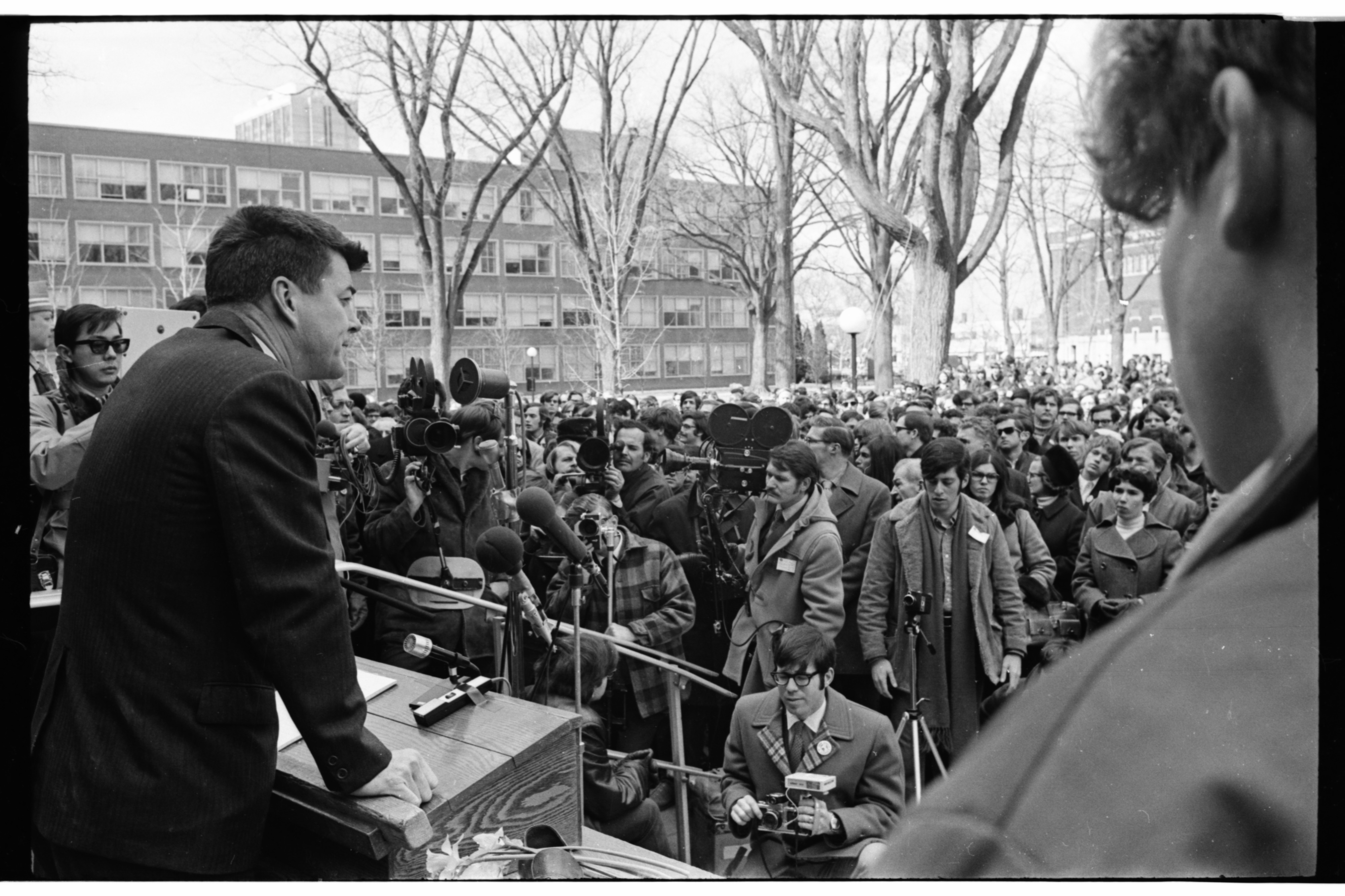 U.S. Rep. Paul McCloskey Speaks at ENACT Eco-Rally on University of Michigan Diag, March 1970 image