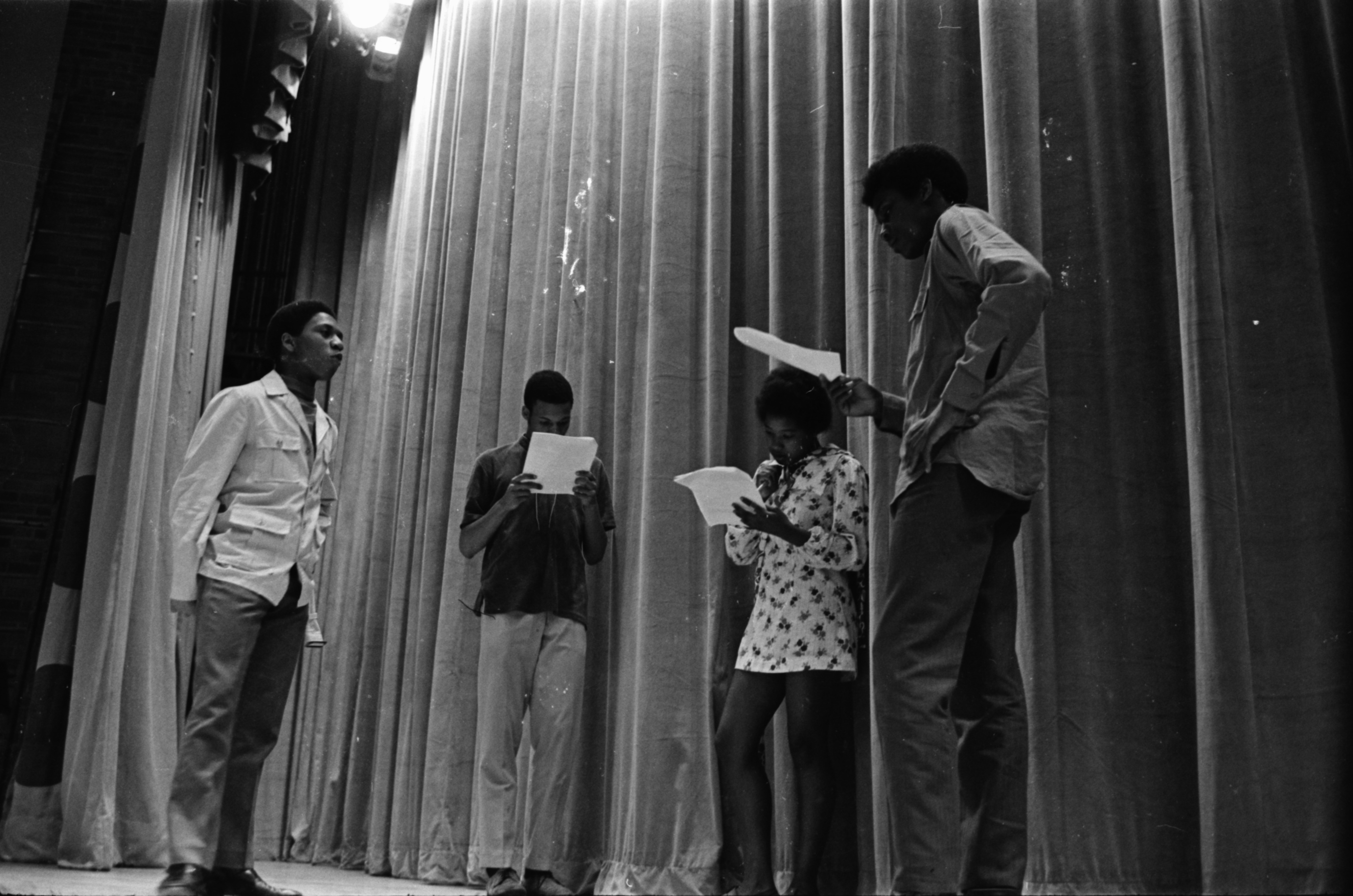 "Huron High School students prepare skit for ""Civil Rights Week,"" May 1970 image"