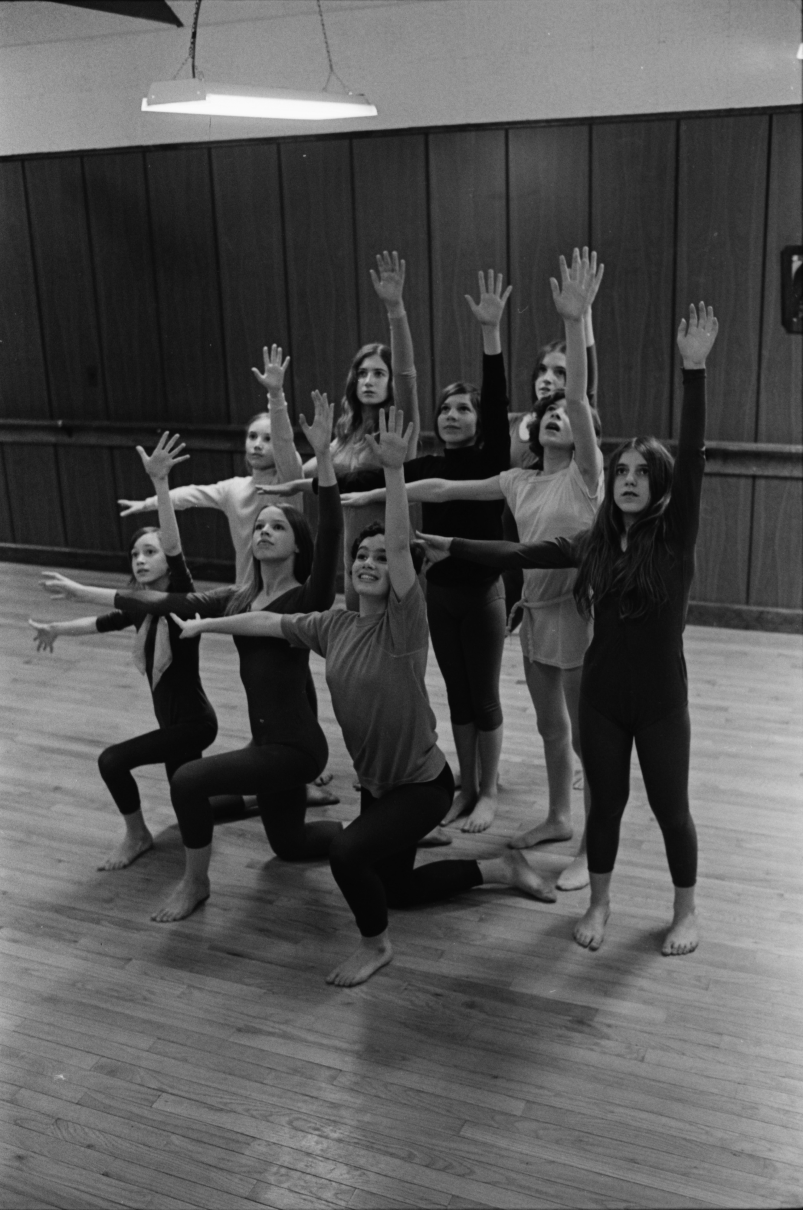 Rehearsing for the Dance Fair in Huron High School auditorium, April 1970 image
