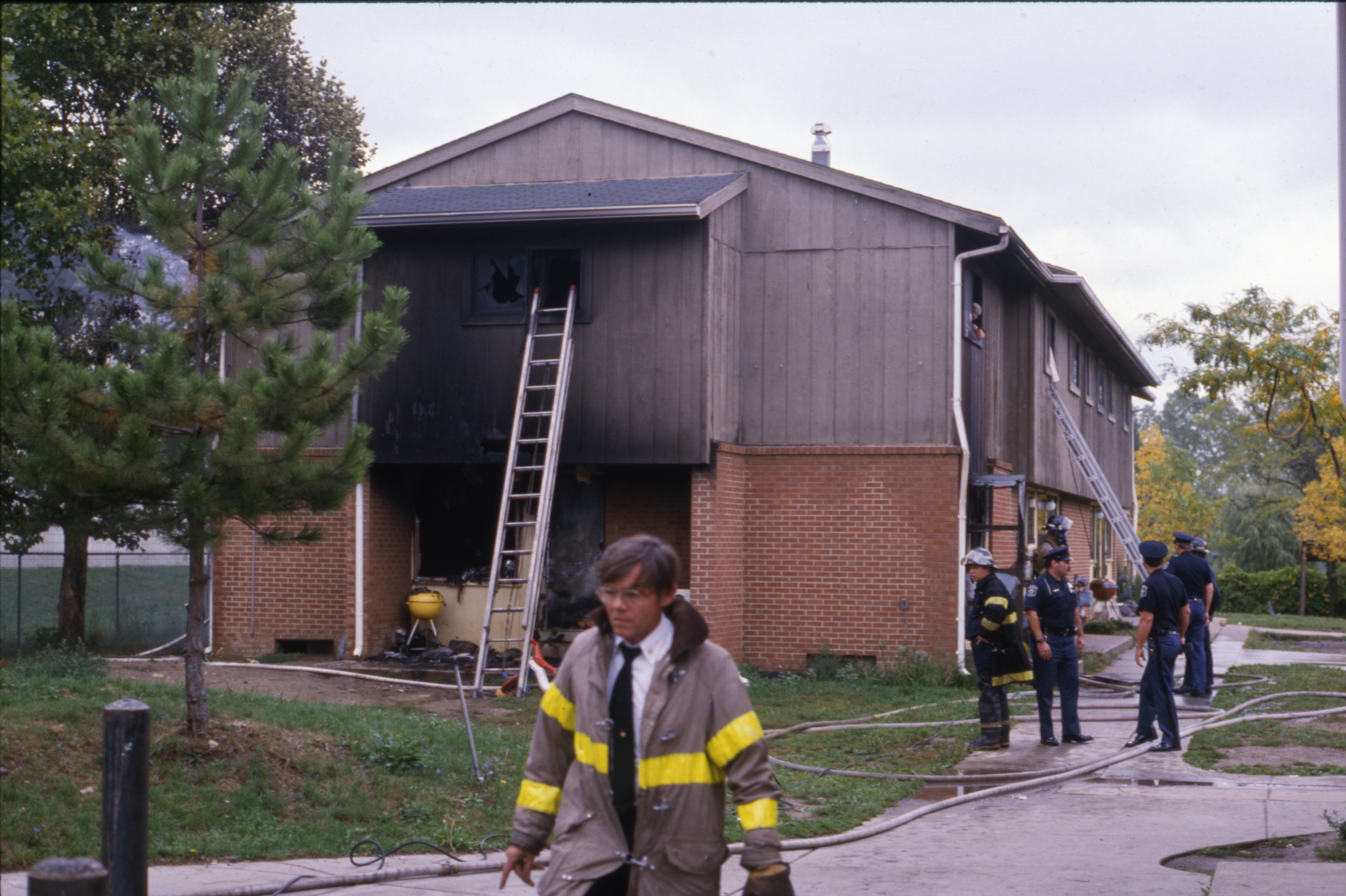 Scene Of Fatal House Fire At Hikone Court, September 24, 1986 image