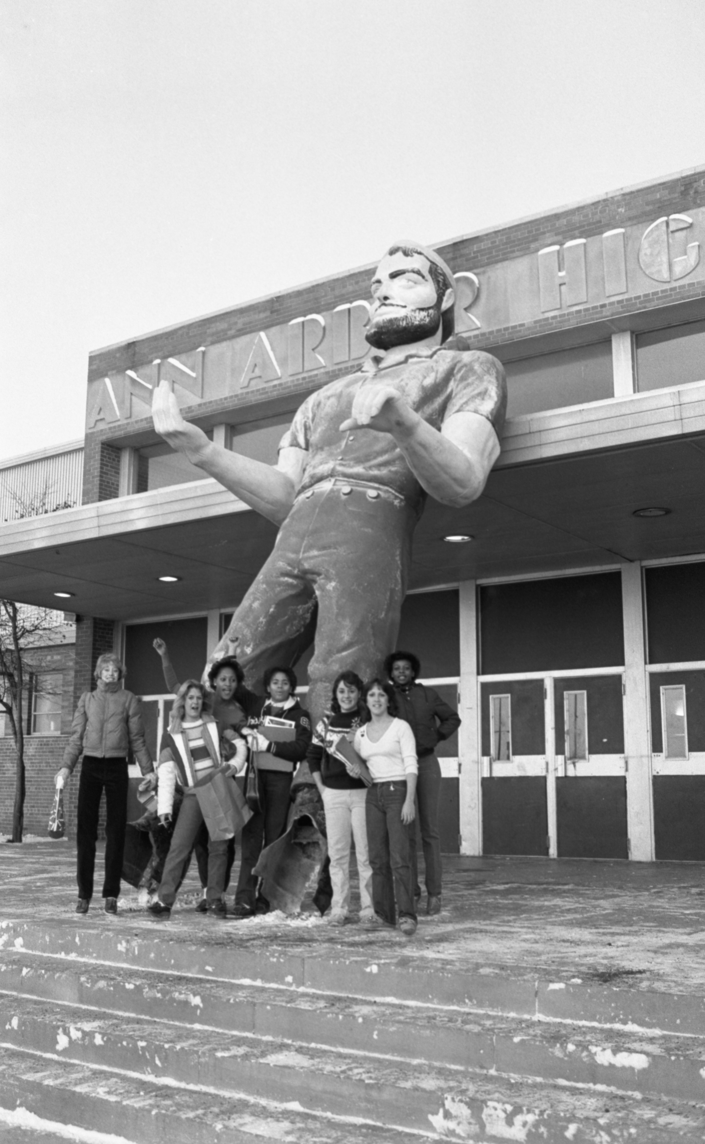 Stolen Paul Bunyan Statue Outside Pioneer High School, December 1981 image
