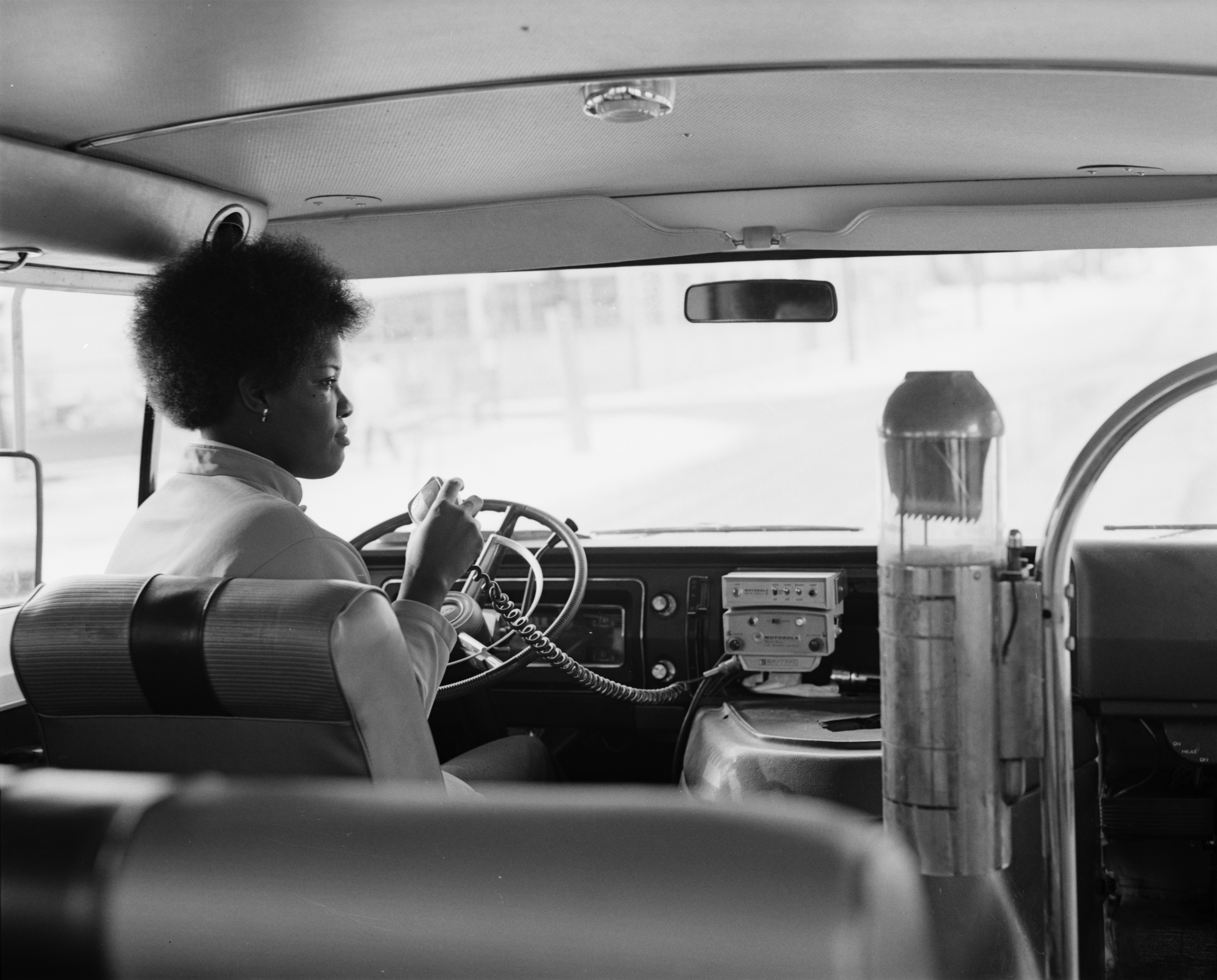 Dial-A-Ride Driver Gladys Pressley Uses CB Radio, January 1972 image