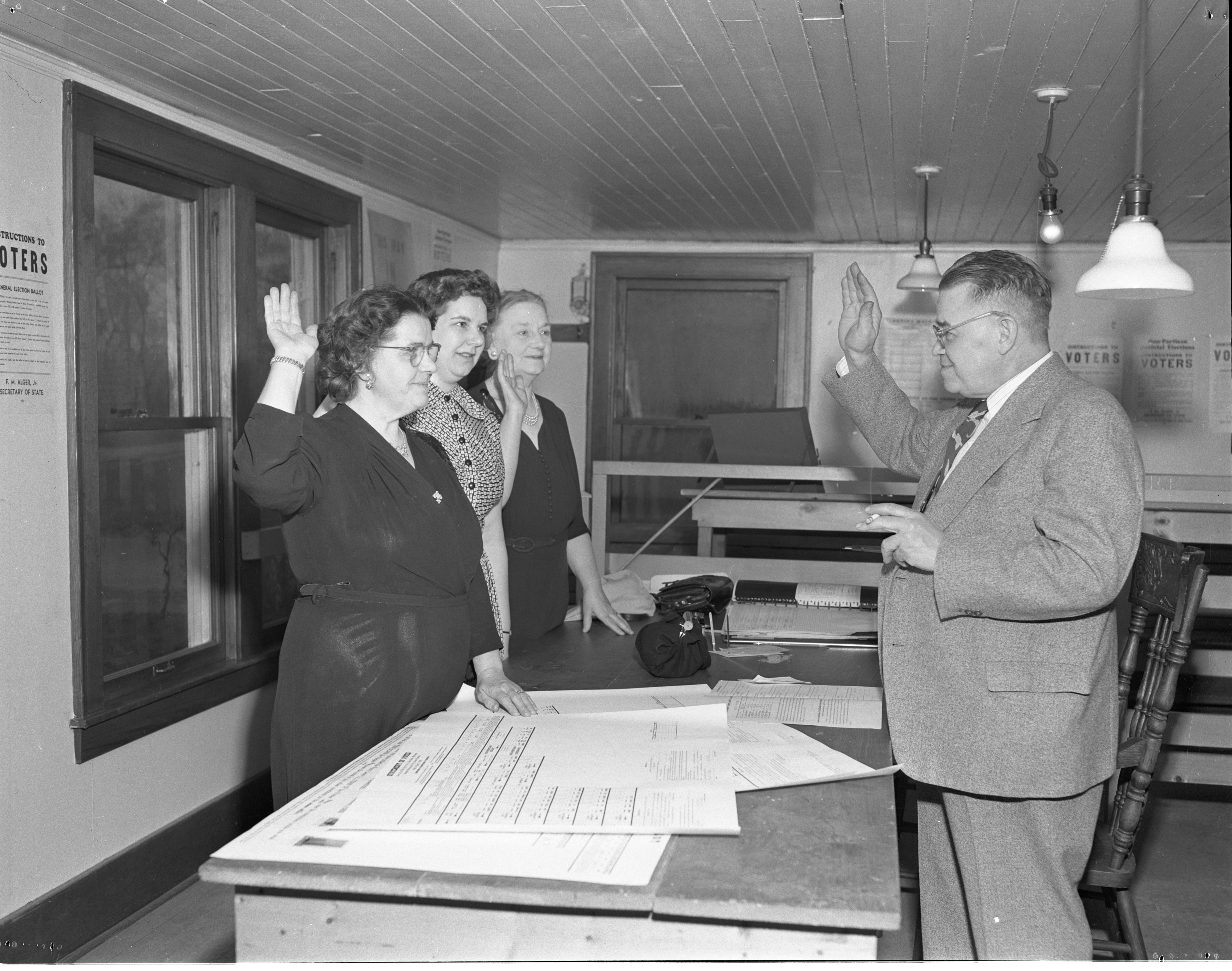 Image from 5th Ward Election Officials Sworn In By Henry Eckstein, April 1951