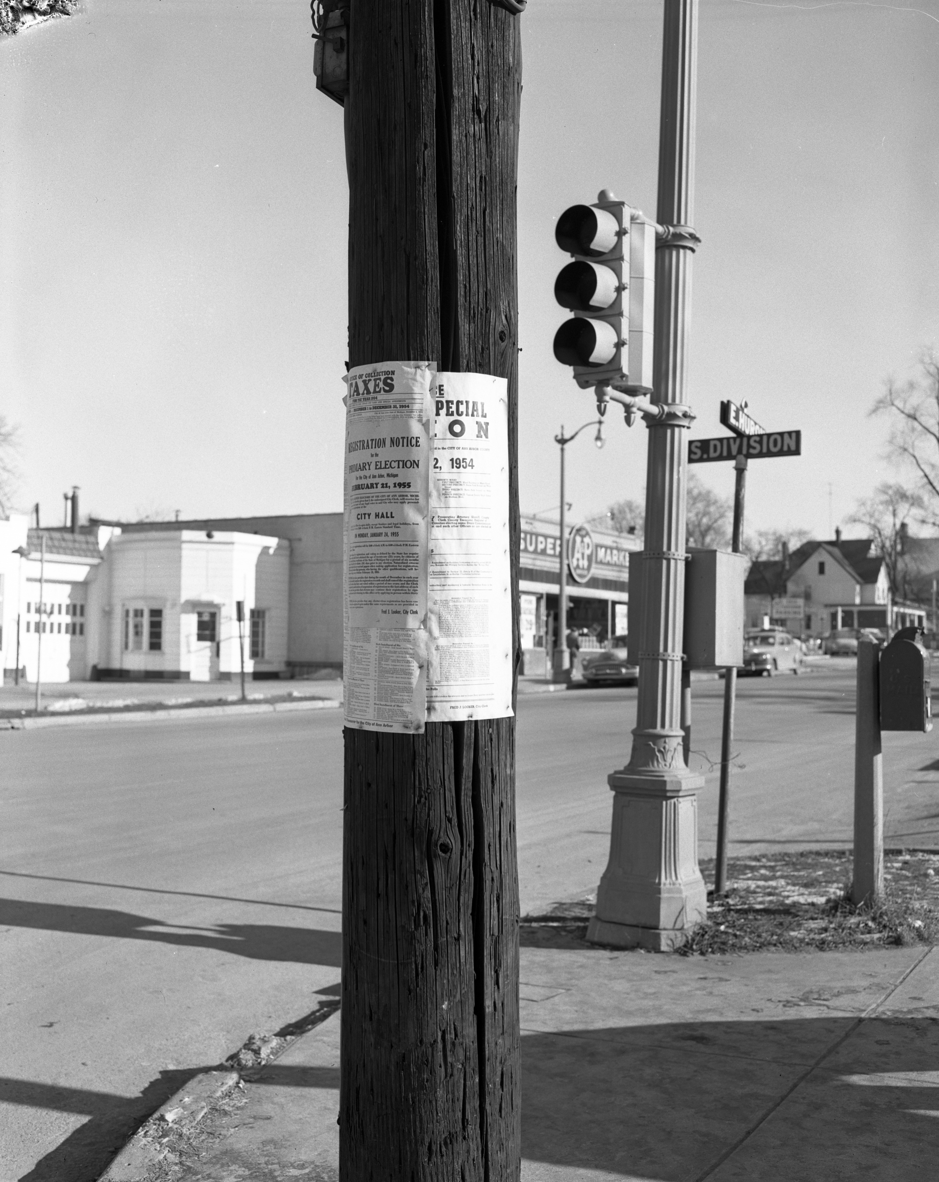 City notices on telephone pole, January 1955 image