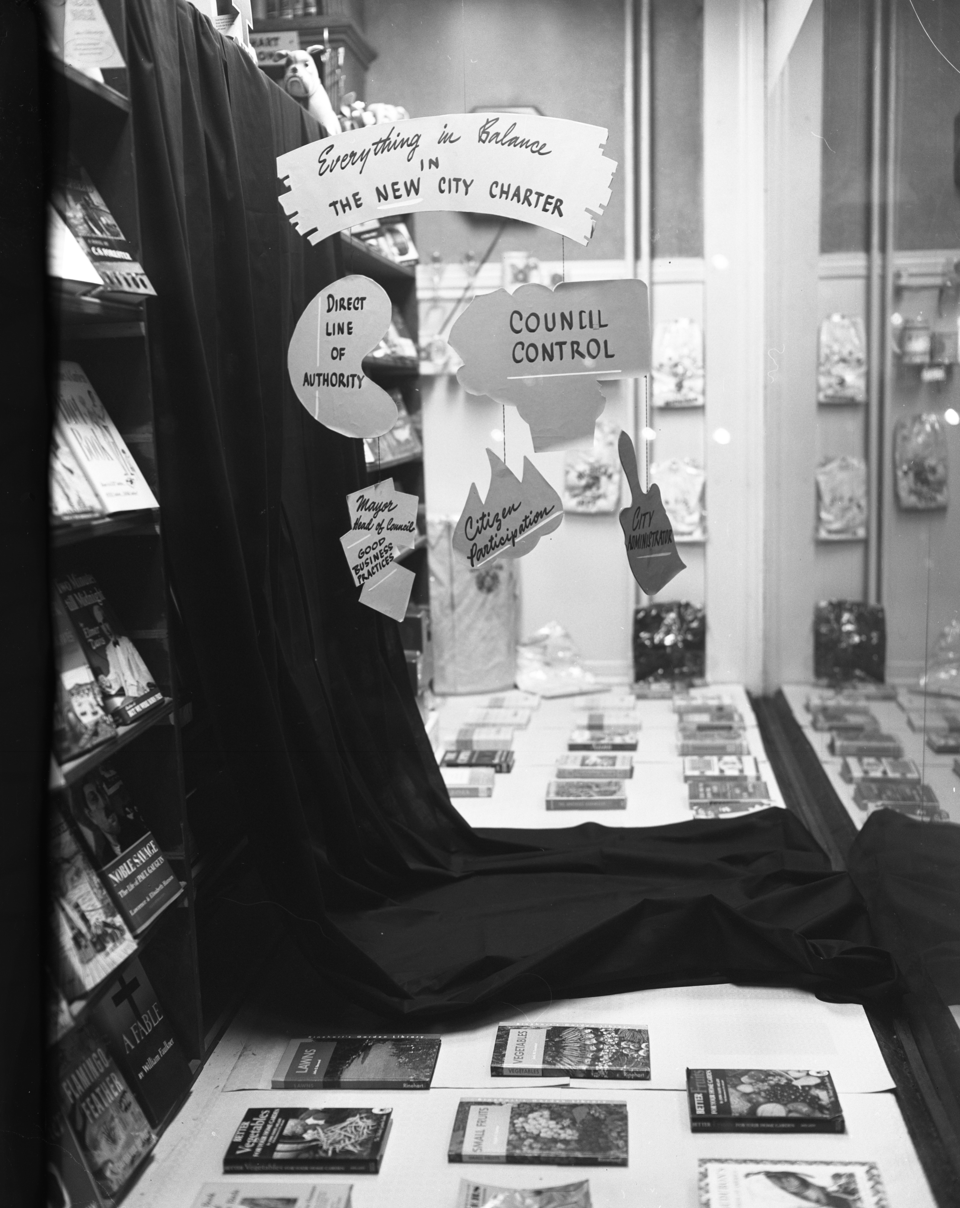 Ann Arbor City Charter display at Wahr's Bookstore, March 1955 image