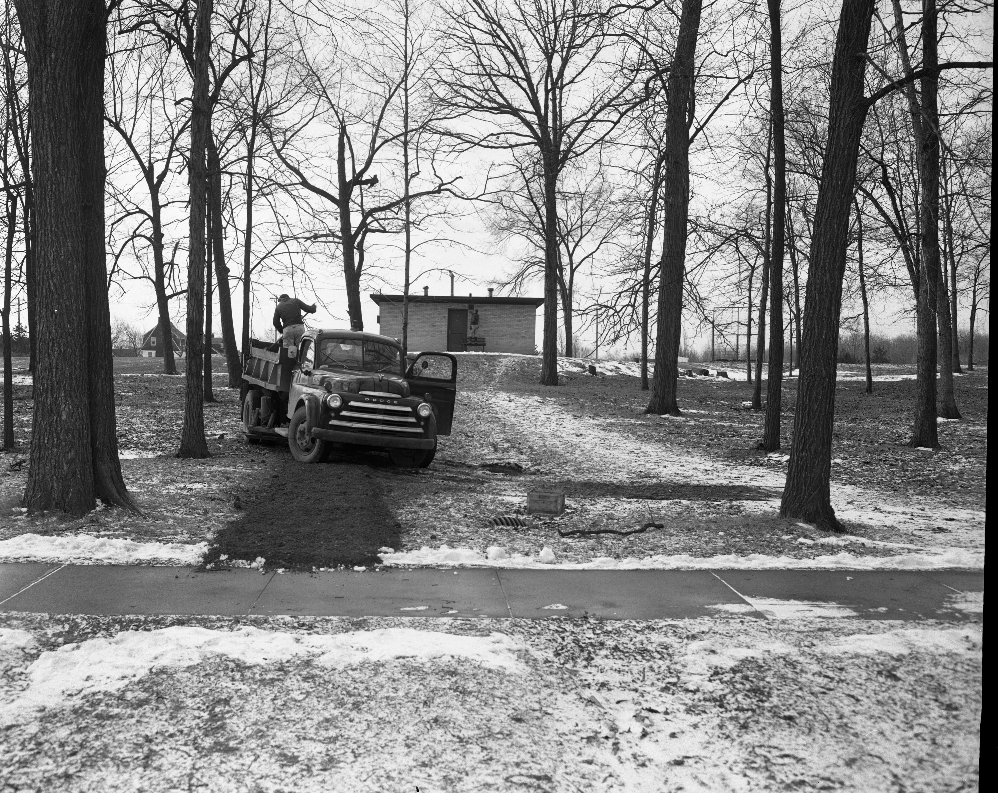 Allmendinger Park shelter getting readied as a polling place, March 1956 image