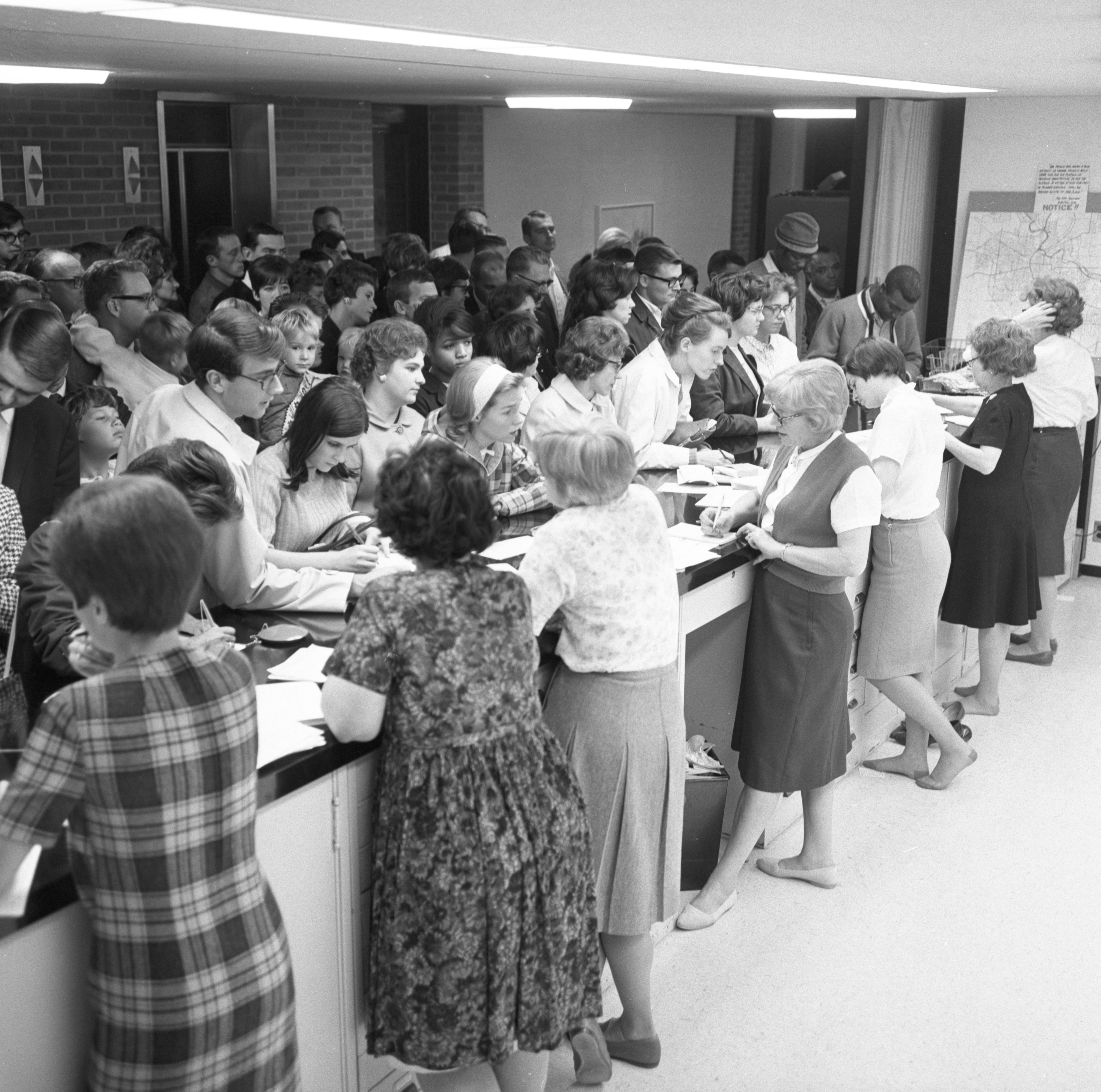 Ann Arbor City Clerk's Office Crowded For Last-Minute Voter Registration, October 1966 image