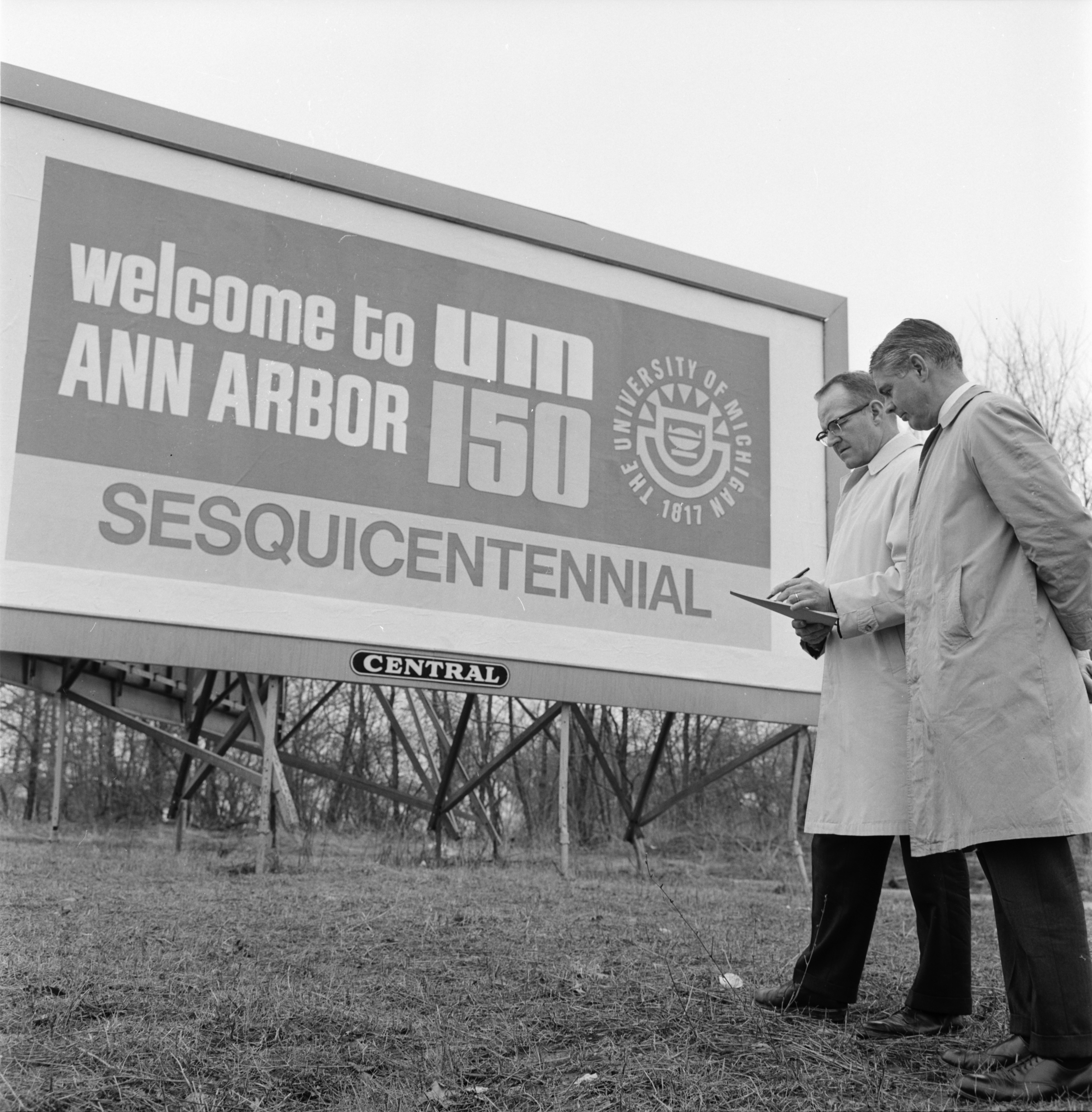 University of Michigan Sesquicentennial Billboard, March 1967 image